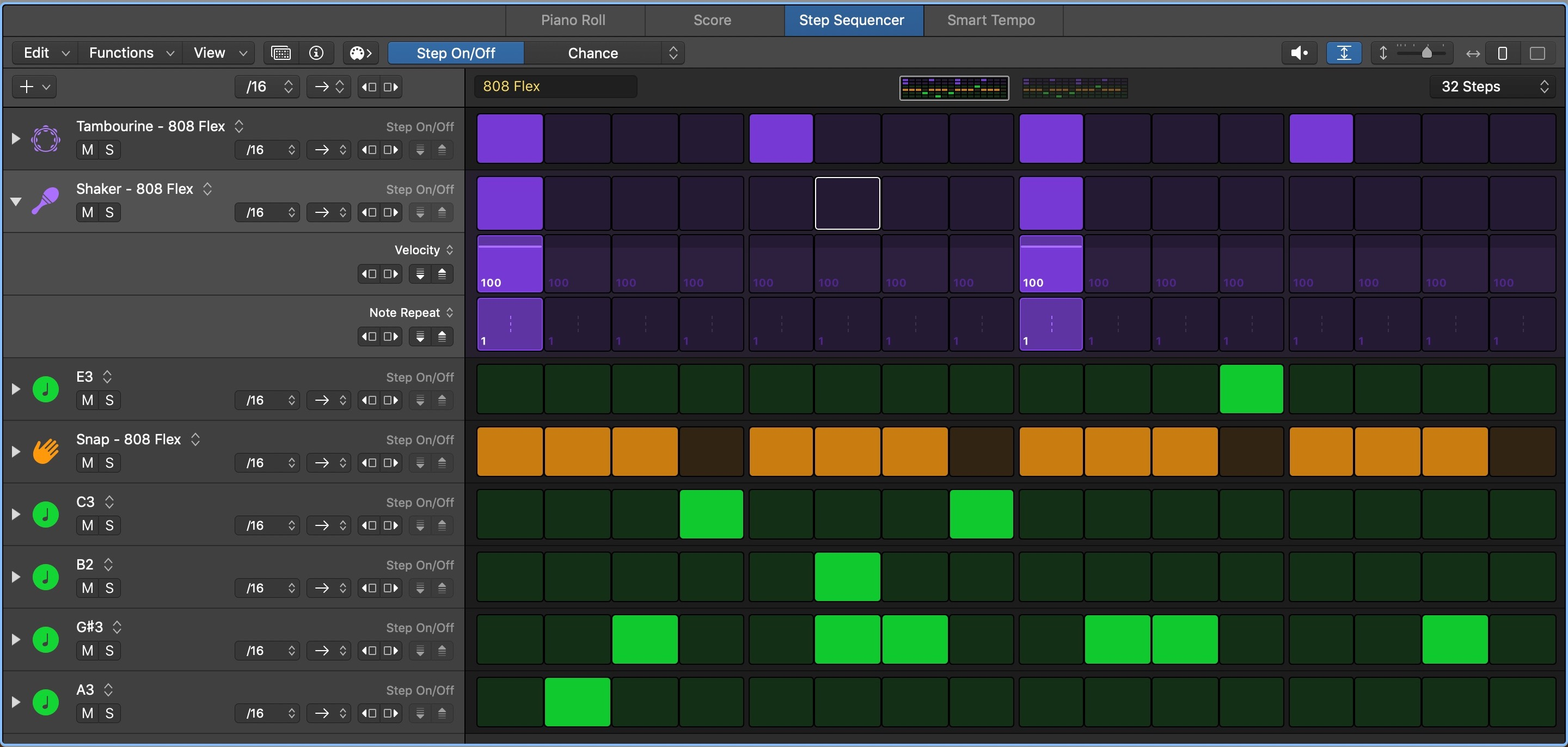 Logic Pro Step Sequencer Interface