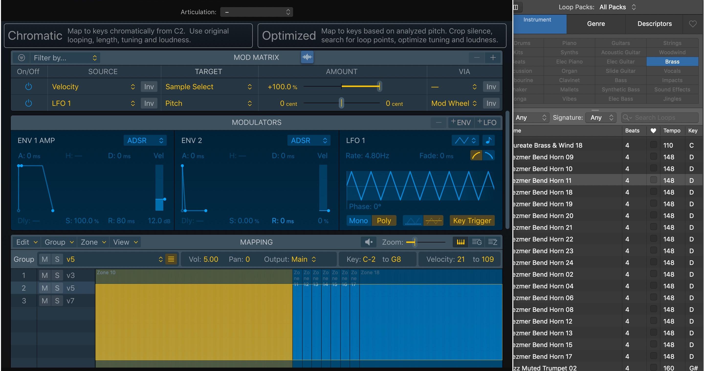 Sampler Logic Pro X 10.5 - Chromatic vs. Optimized