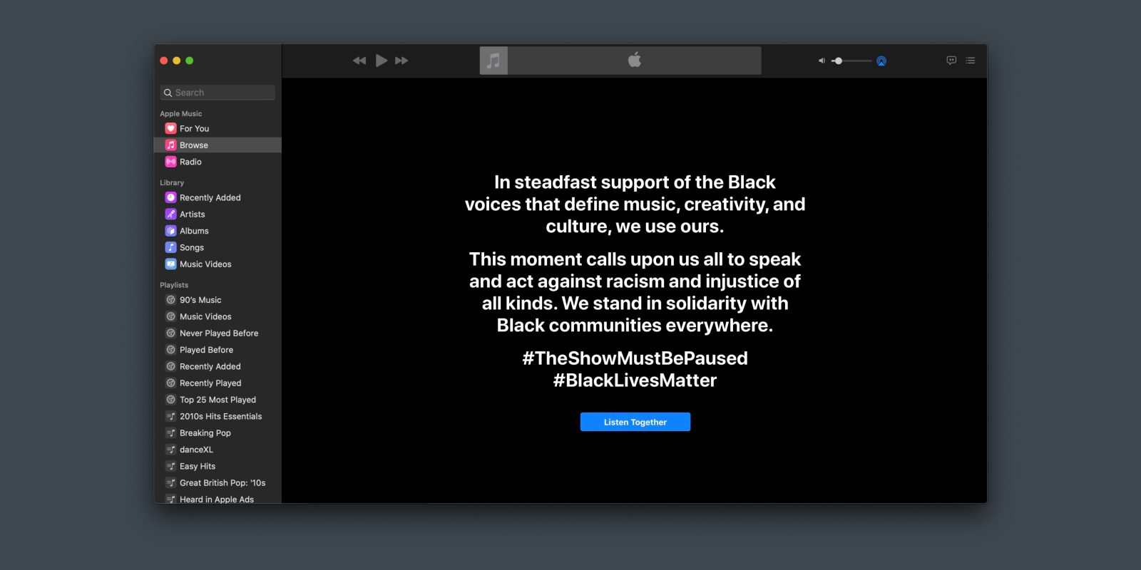Spotify, Apple Music, YouTube, and Amazon show support for Black Out TuesdayBlack Out Apple Music.jpg?quality=82&strip=all&w=1600