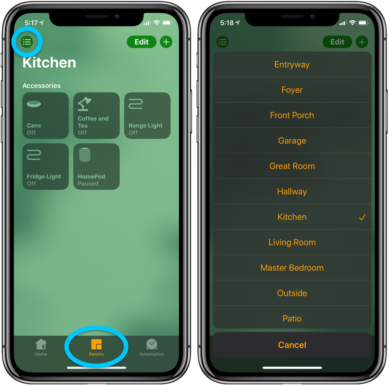 How to add/remove favorite HomeKit accessories