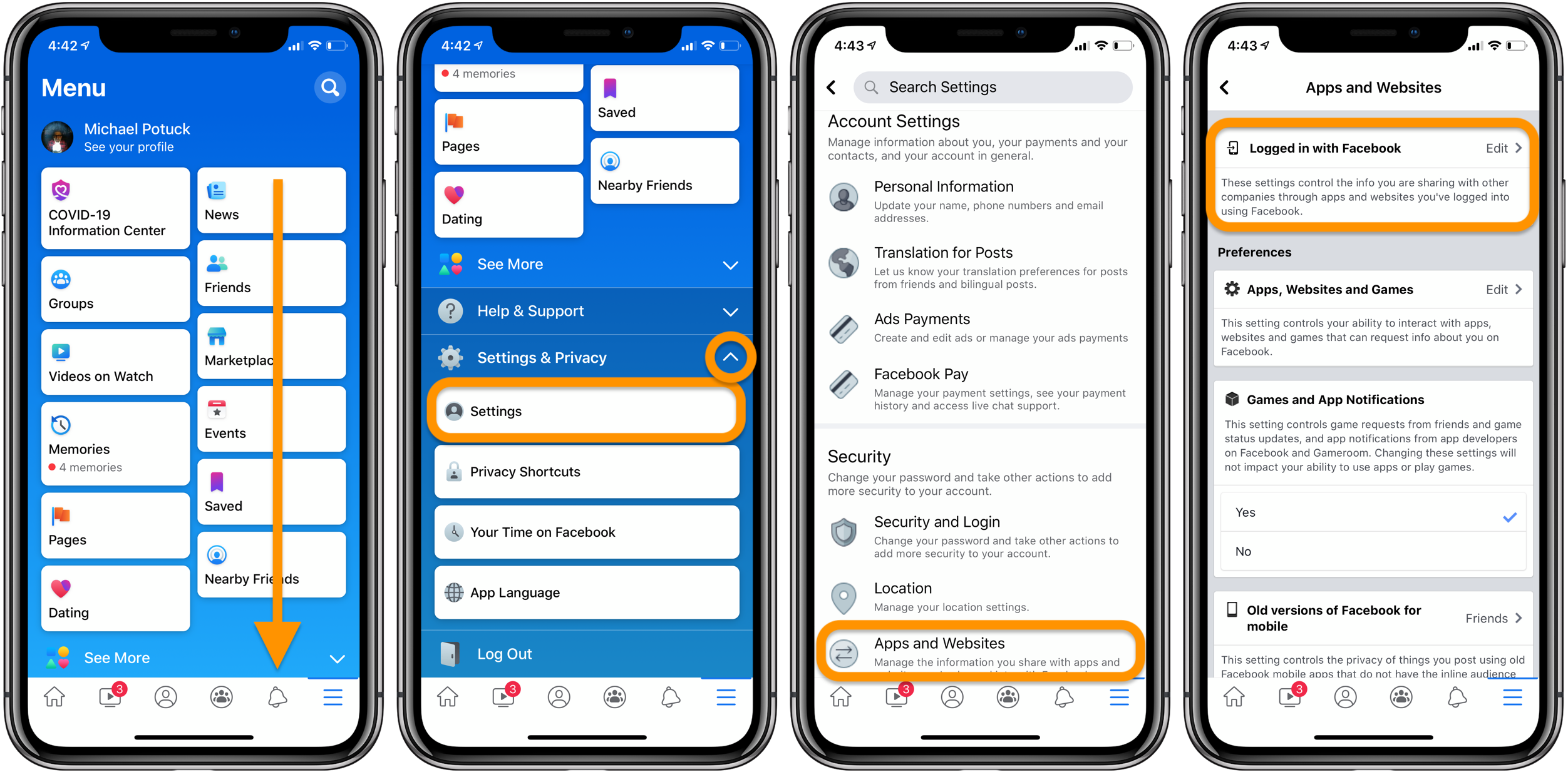 how to delete Logged in with Facebook apps and websites iPhone
