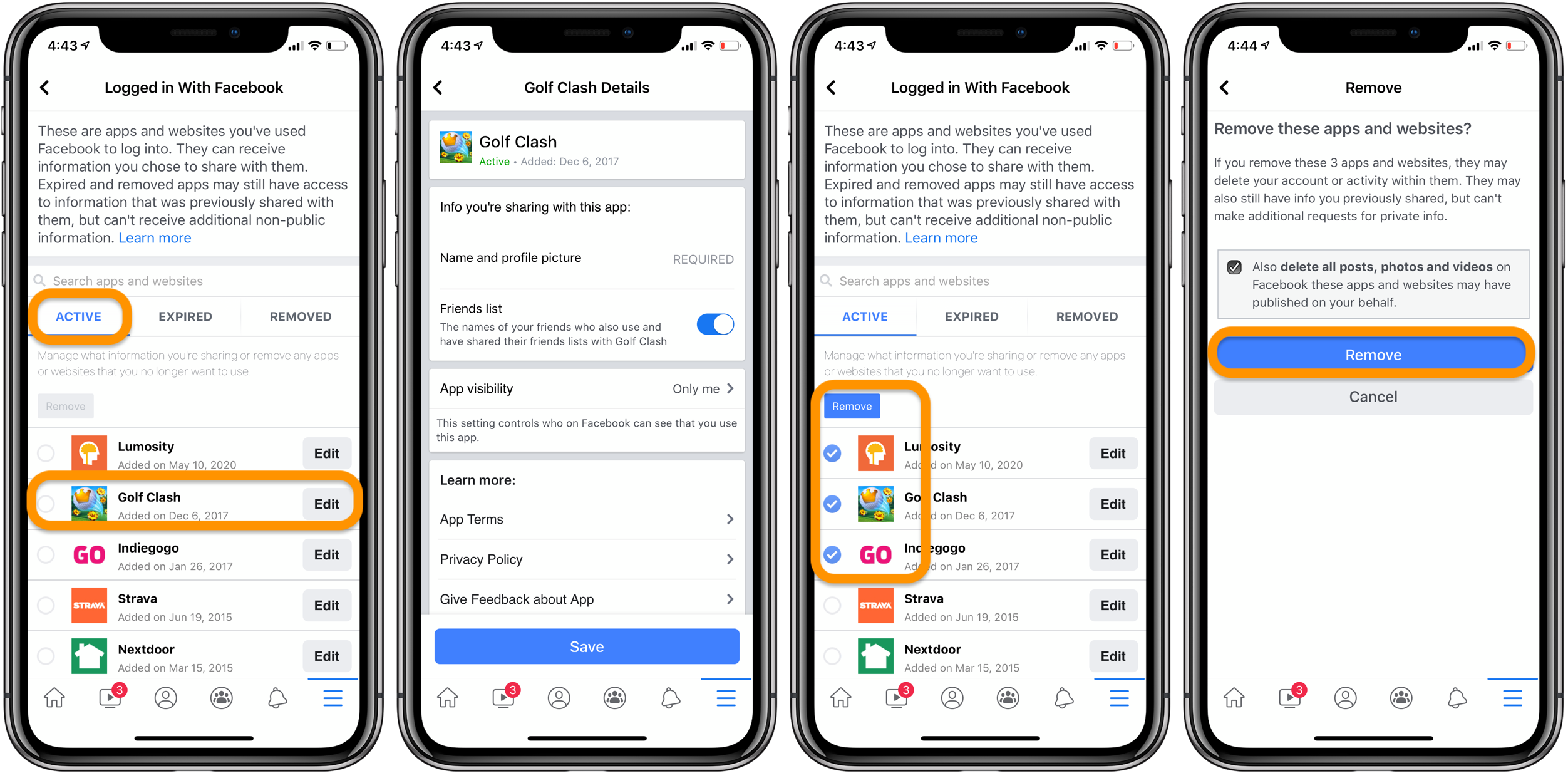 how to delete Logged in with Facebook apps and websites iPhone walkthrough