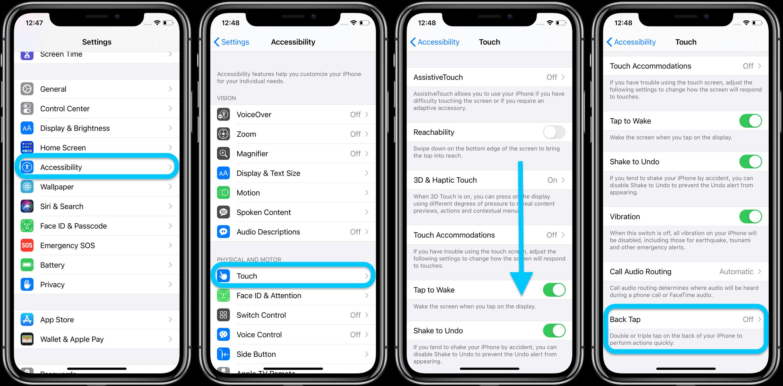 Как использовать iphone назад нажмите пользовательские контроль