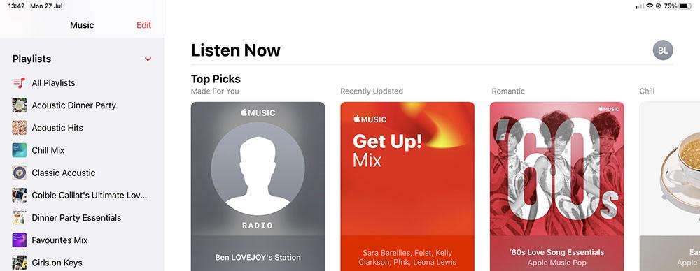 Music app sidebar