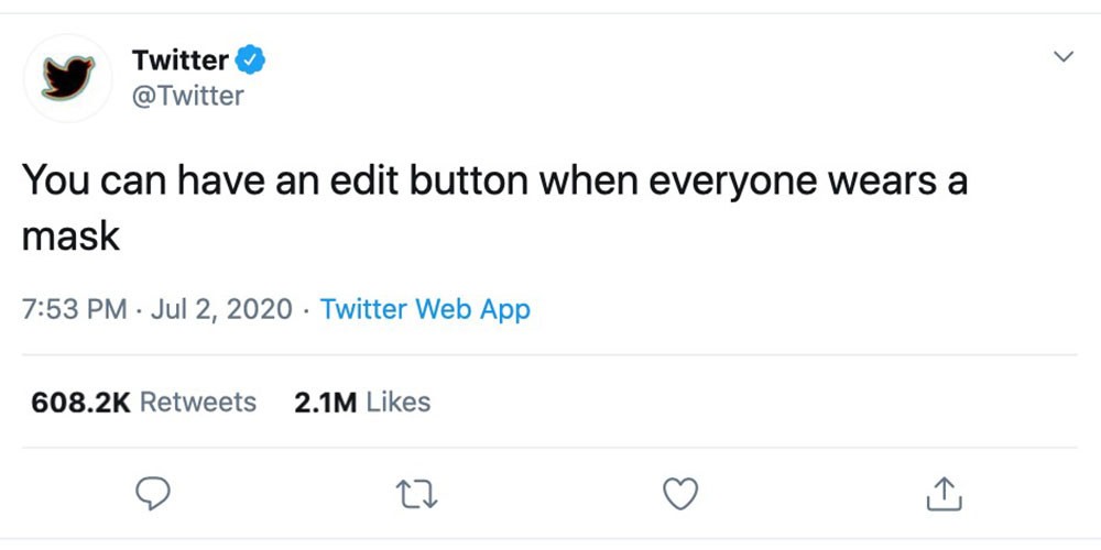 Twitter edit button tease ? from the official account, but just taunting us