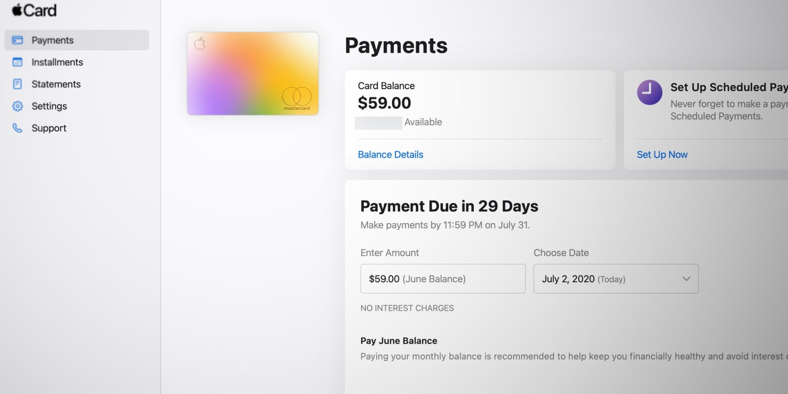 Apple launches web portal for Apple Card, pay your bill and view
