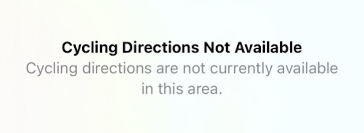 Apple Maps cycling directions not available