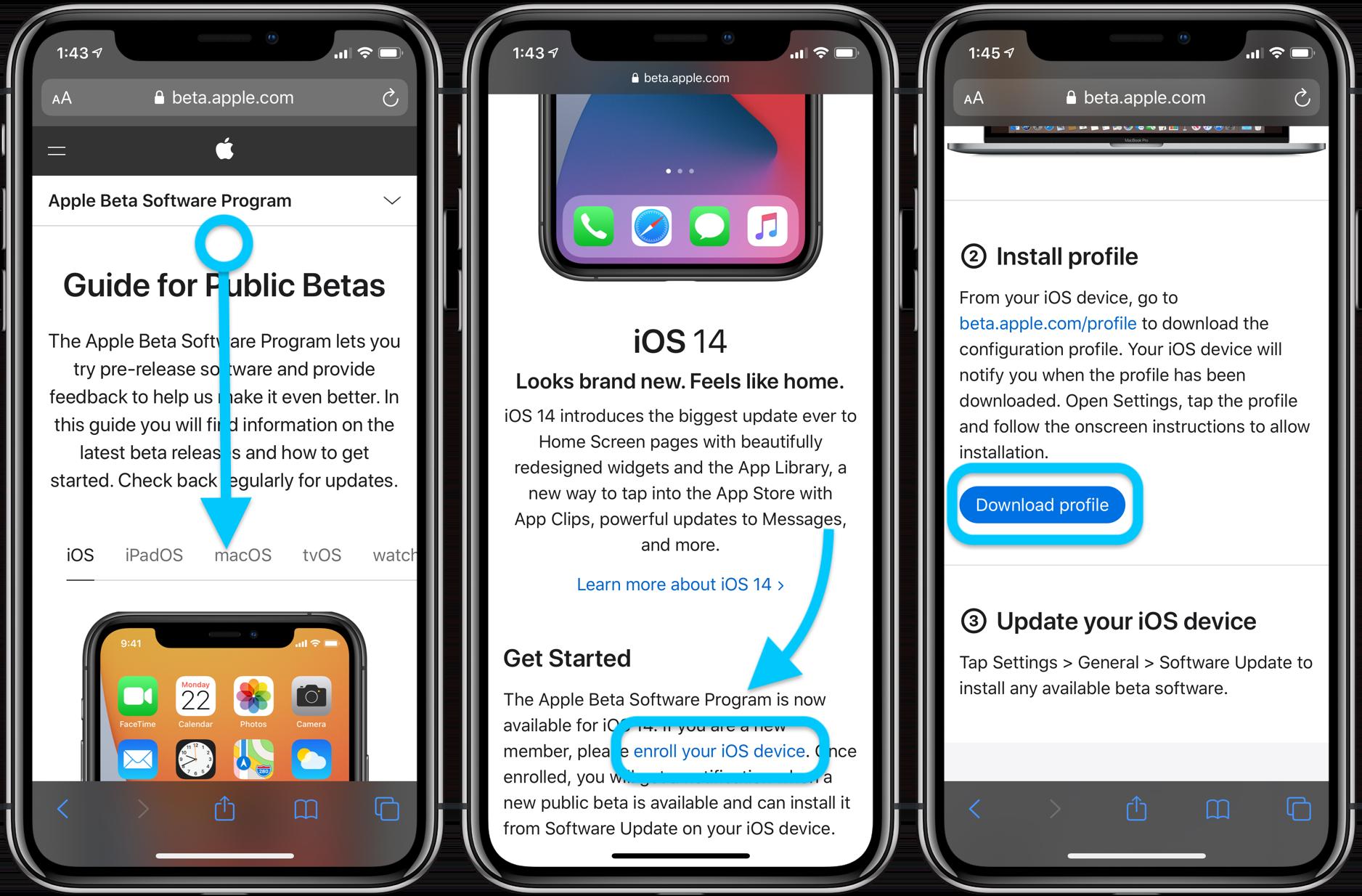 Install iOS 14 public beta