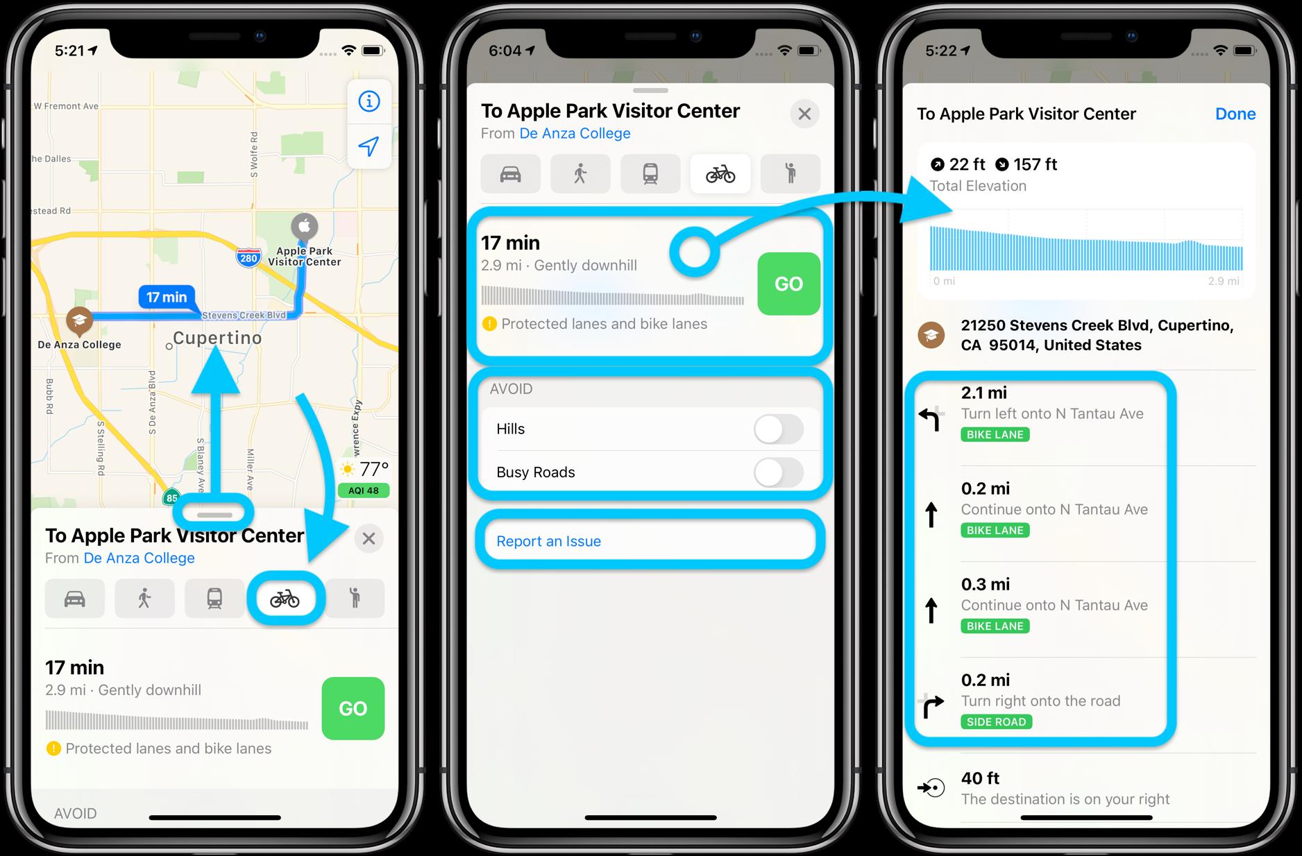 Как использовать велосипедные маршруты Apple Maps в iOS 14, пошаговое руководство 1