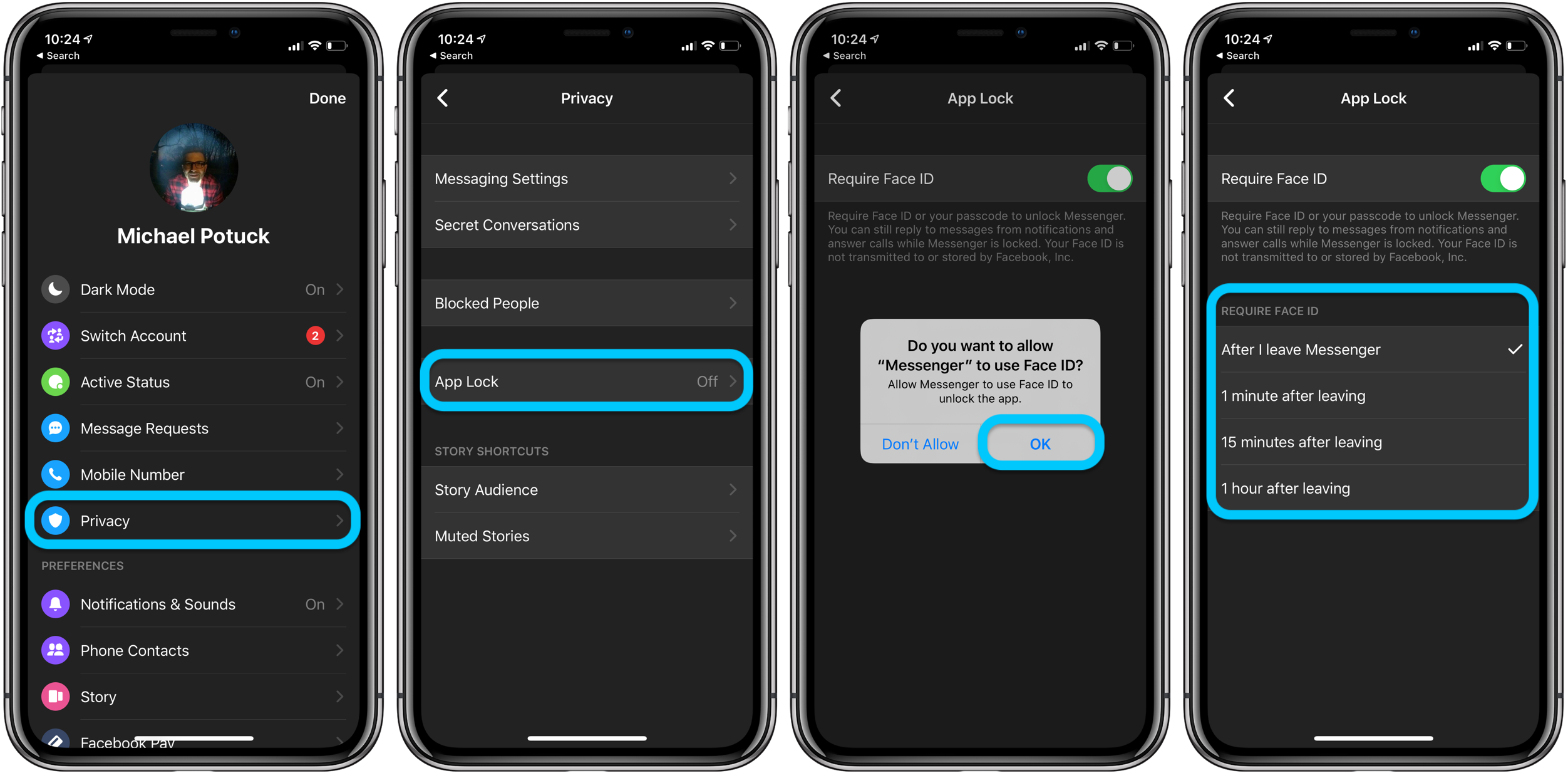 How to use Face ID Touch ID iPhone Facebook Messenger