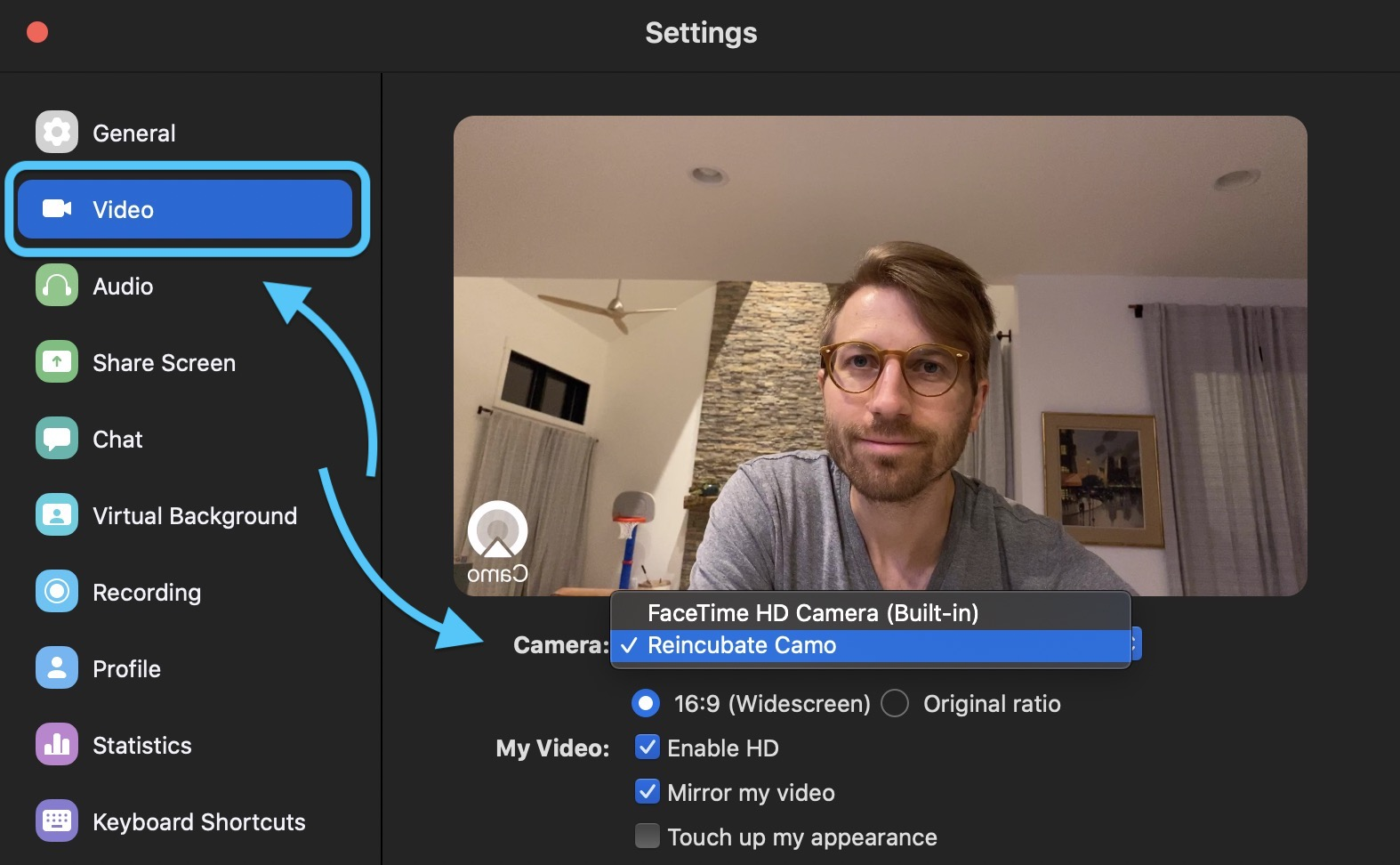 How to use iPhone as Mac webcam Reincubate Camo with Zoom