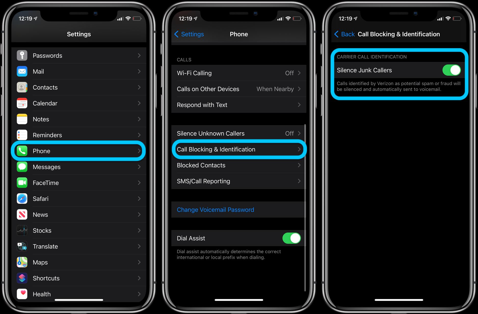 iPhone iOS 14 Verizon Silence Junk Callers