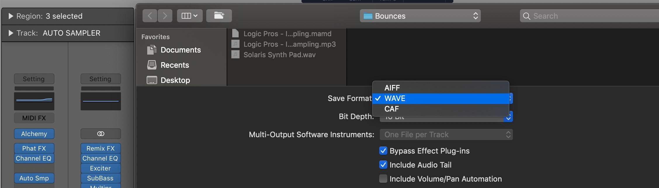 Drag and drop export file format - Logic Pro X