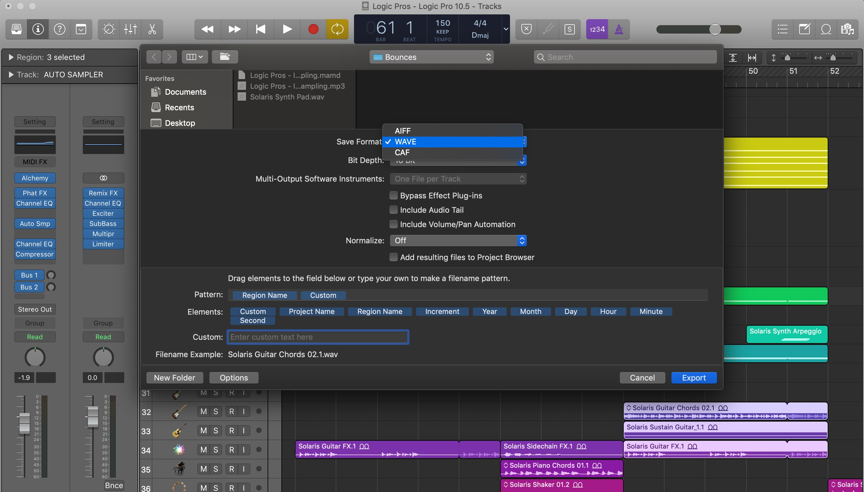 Drag and drop export settings - Logic Pro X
