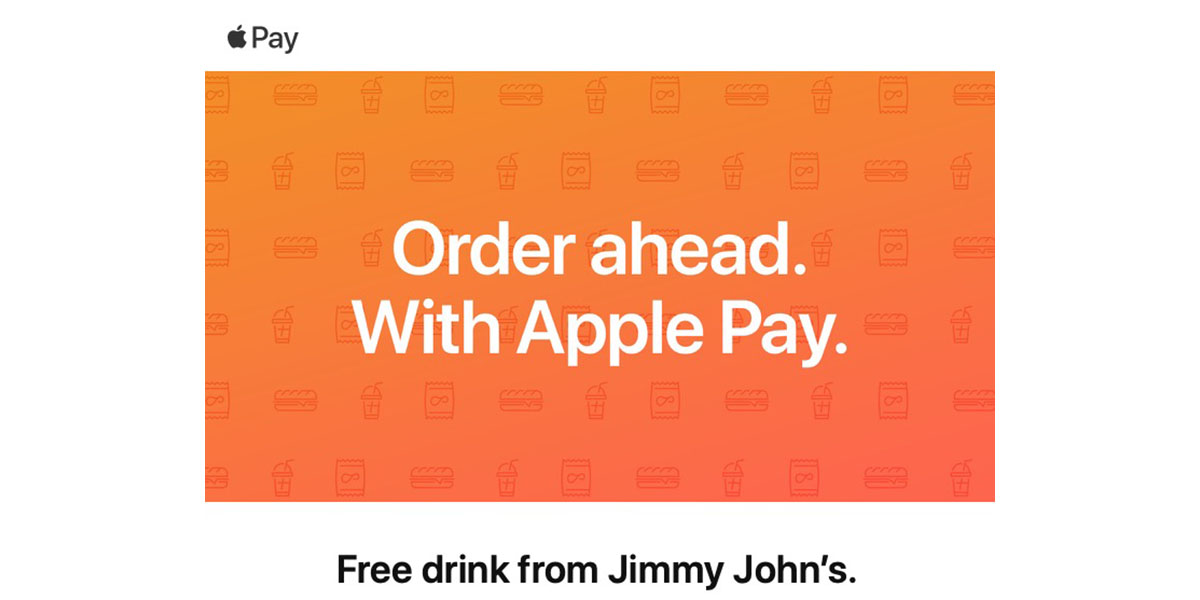 Apple Pay promo offers free drink at Jimmy John's with $10 spend