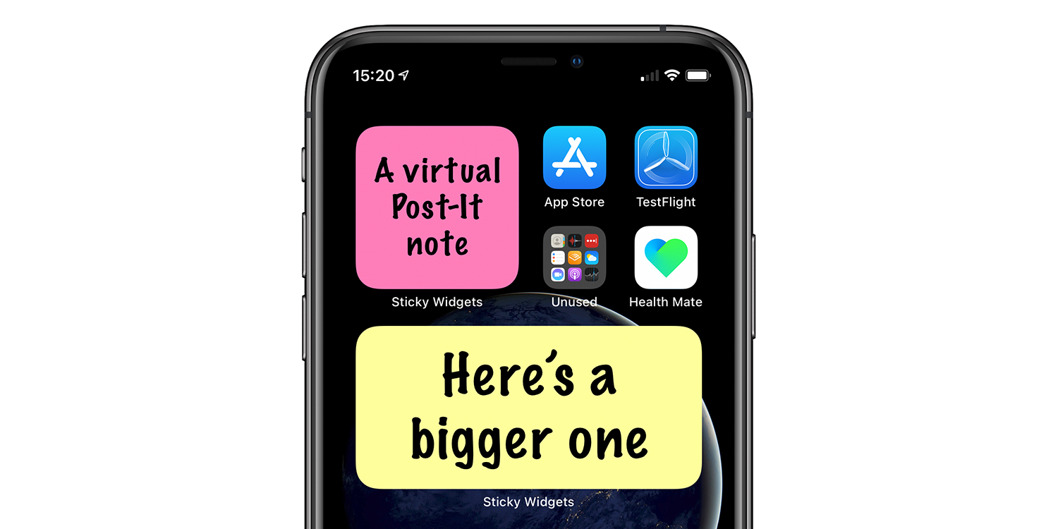 Sticky Widgets lets you put a virtual Post-It on your iPhone home screen