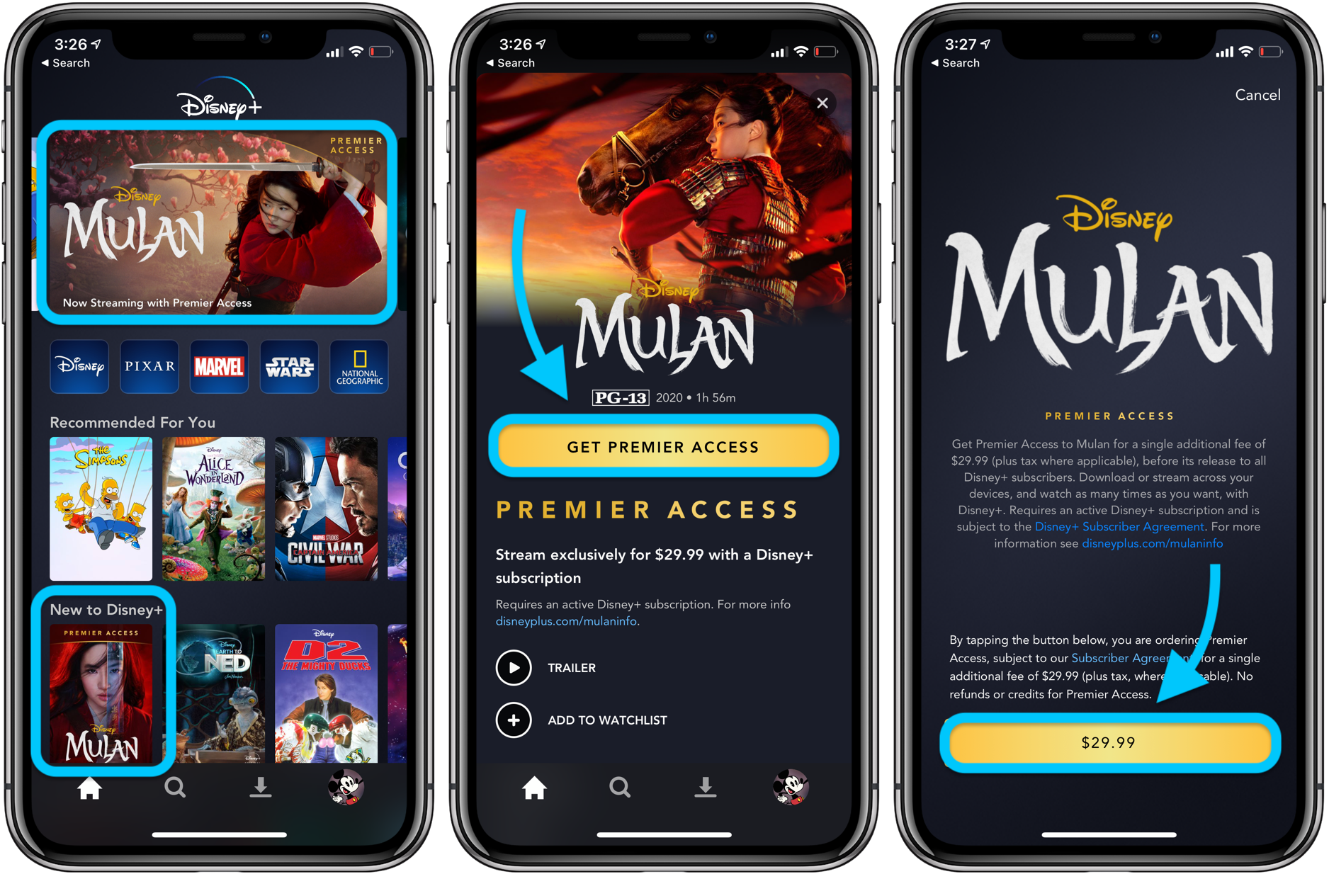 How to stream Disney Mulan live-action movie iPhone iPad Apple TV walkthrough