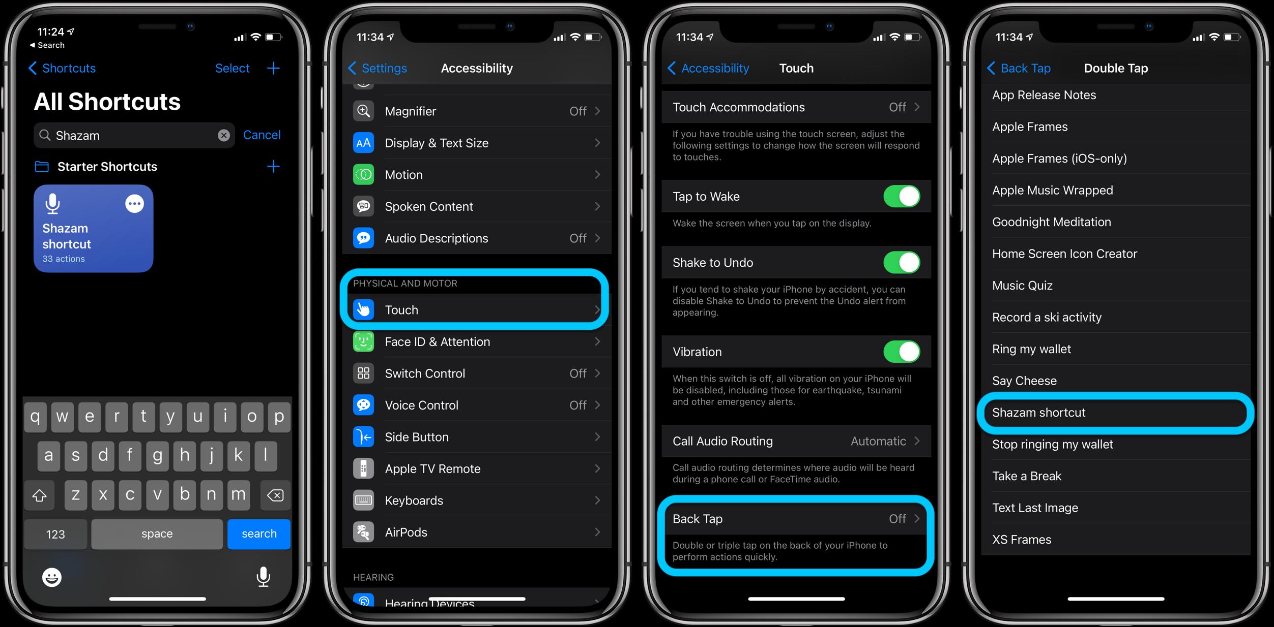 Shazam Back Tap shortcut iPhone iOS 14