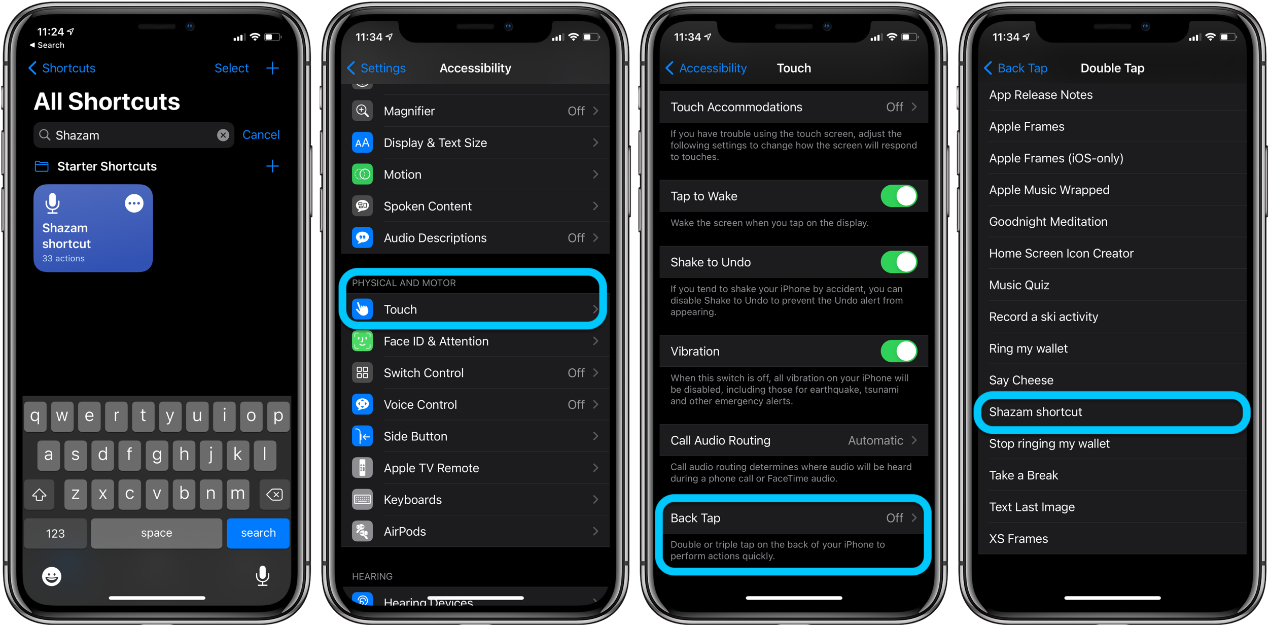 Phím tắt Shazam Back Tap iPhone iOS 14