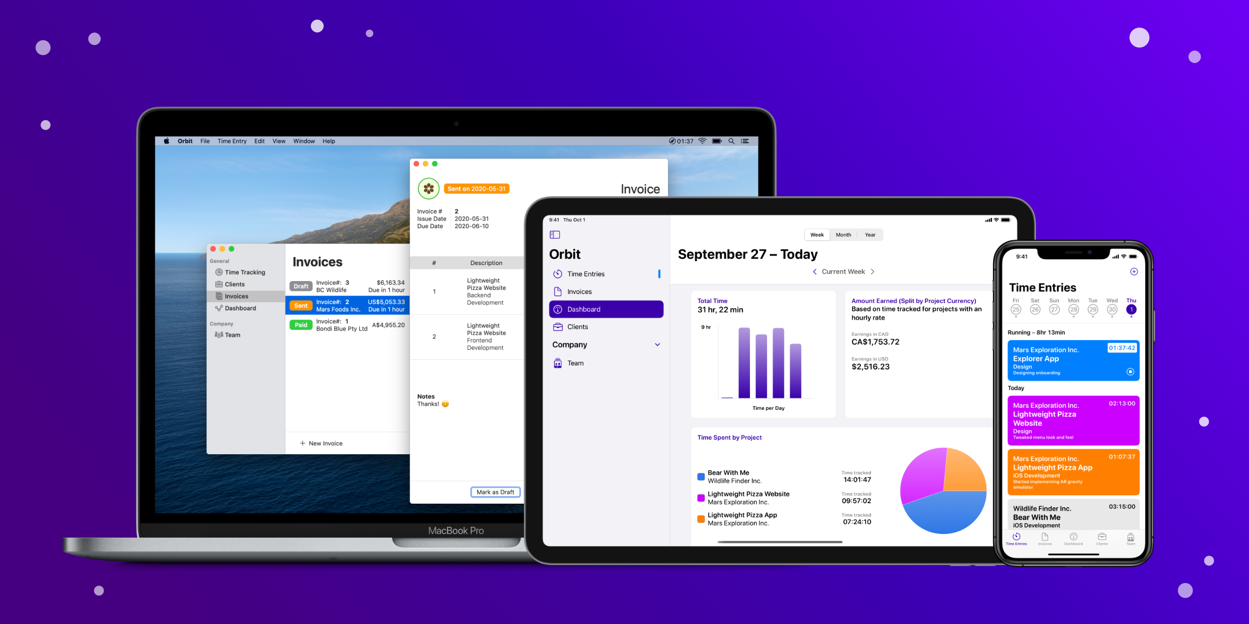 photo of Orbit app lets you track and price your work hours with smart invoices on iOS and Mac image