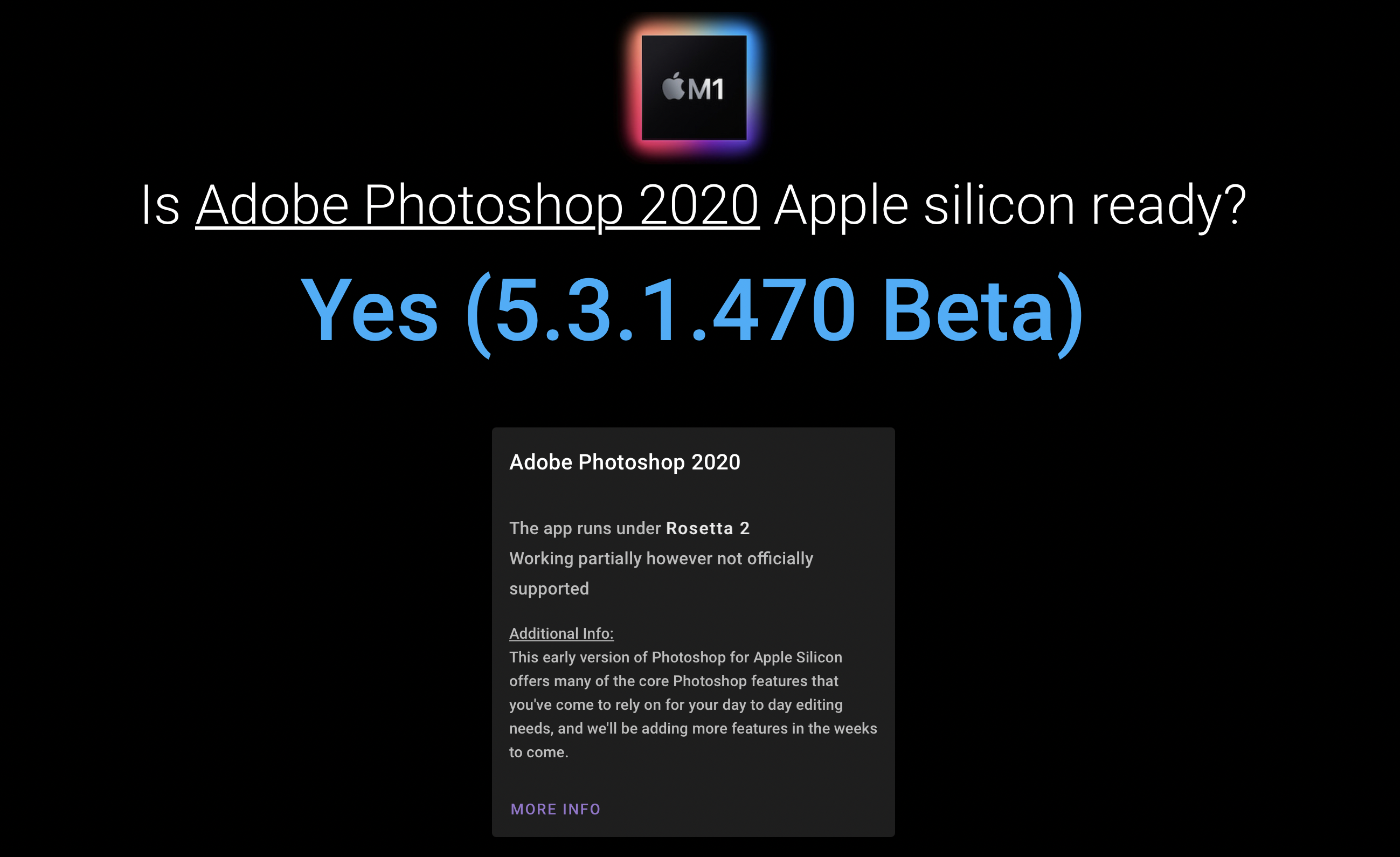 Apple Silicon M1 compatible apps database detailed view