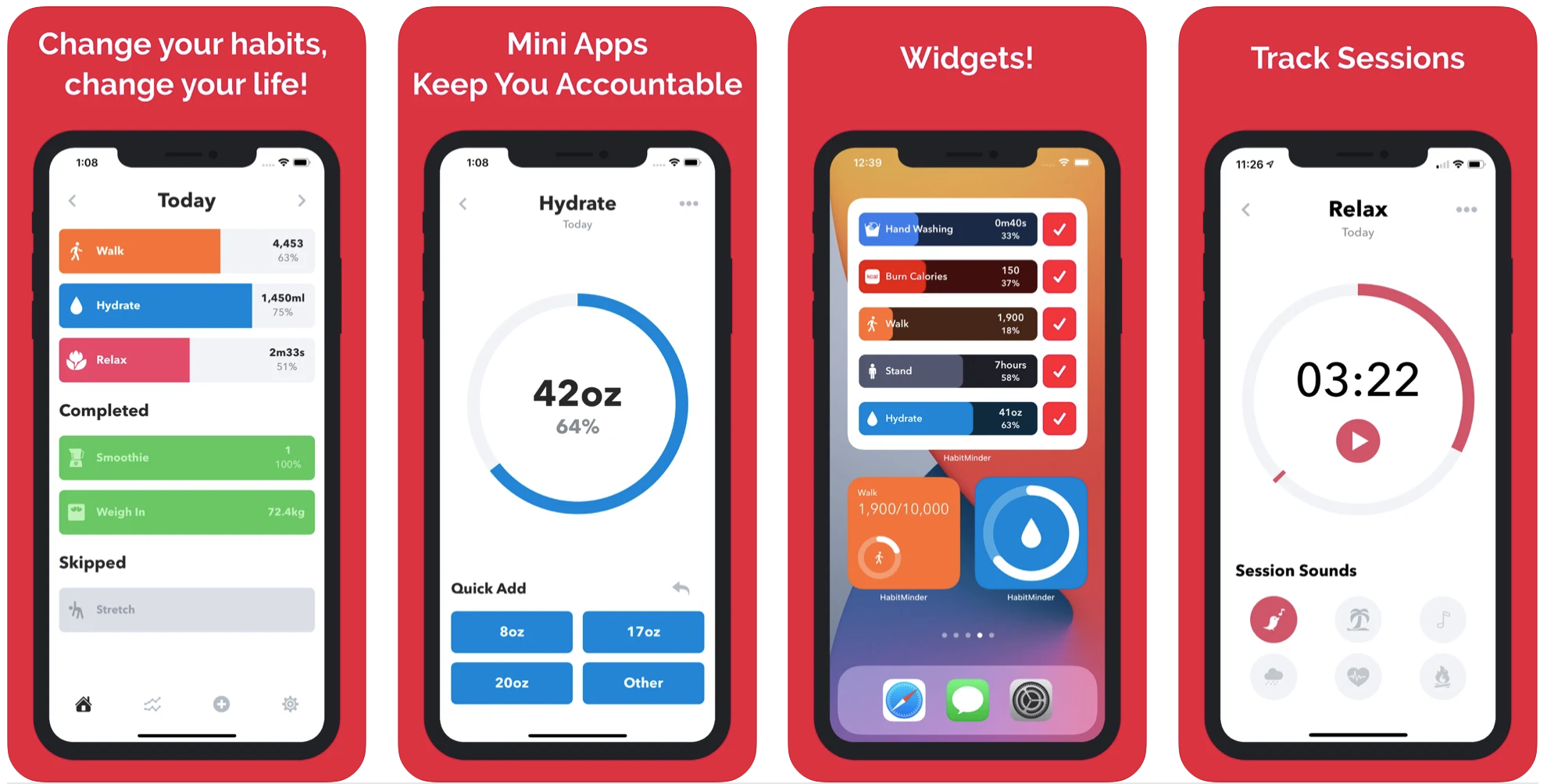 Create habits with iPhone and Apple Watch - HabitMinder app