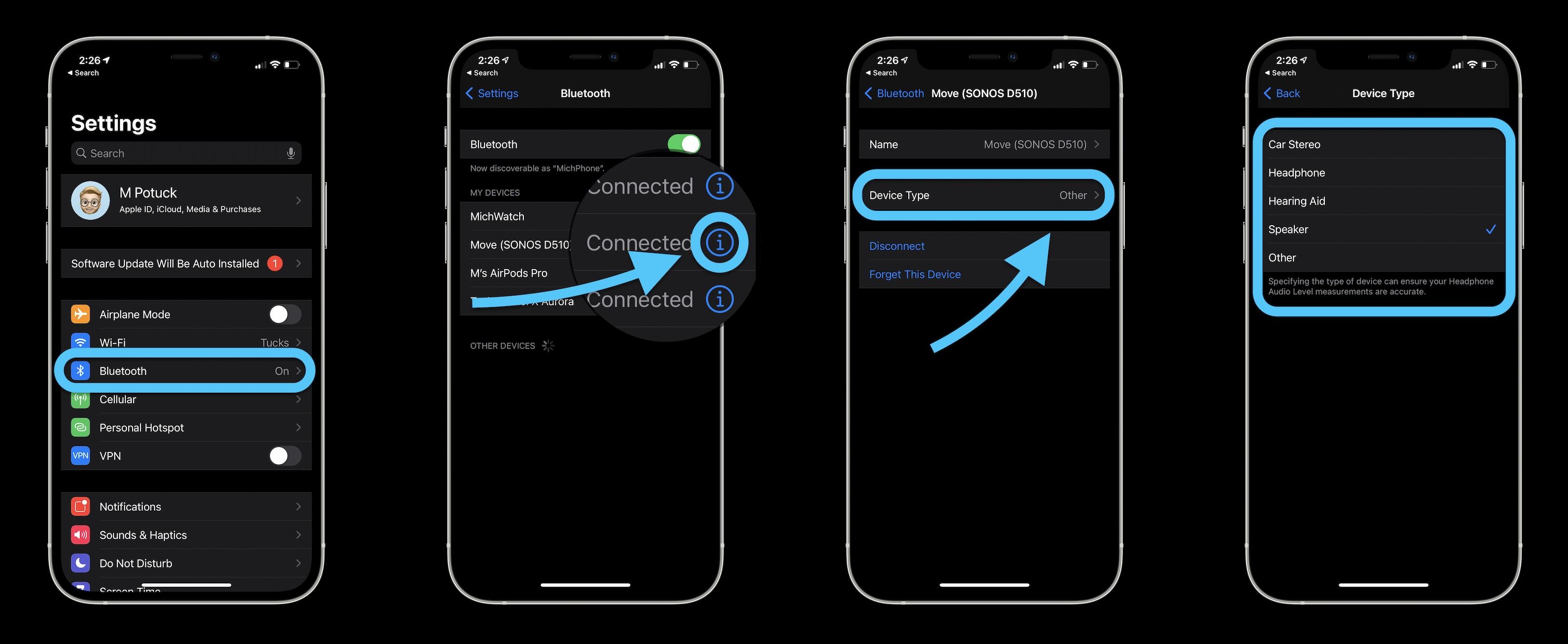 Как пометить Bluetooth-устройства на iPhone и iPad