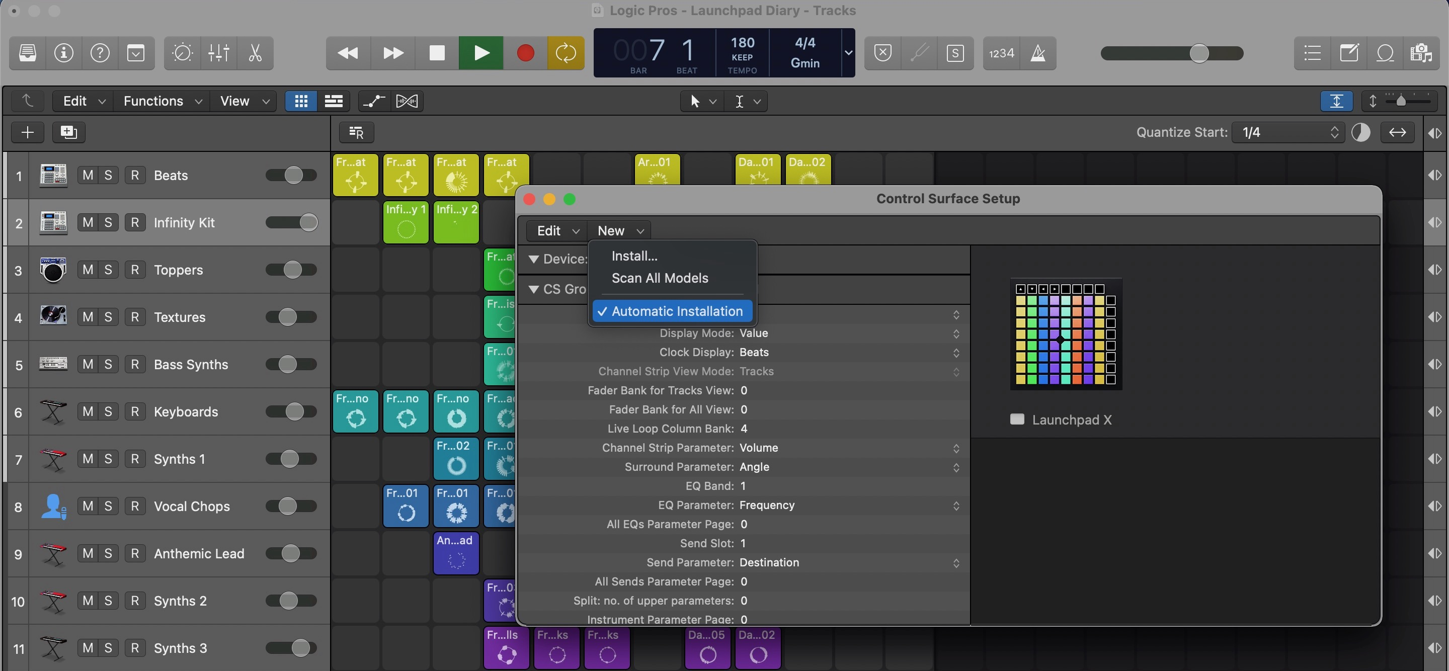 Live Loops Launchpad Diary Control Surface setup