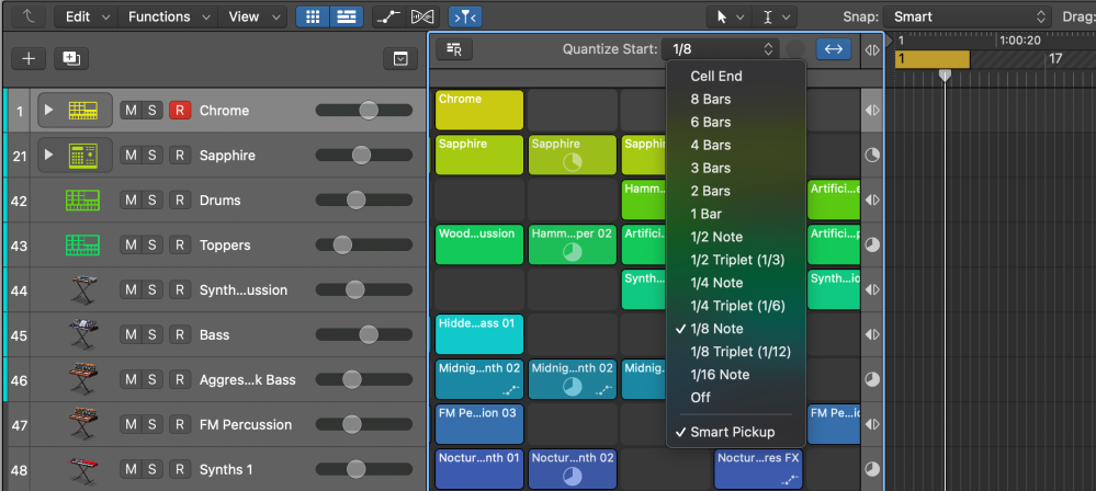 Logic Pros Live Loops Launchpad Diary tips - Quantize Start