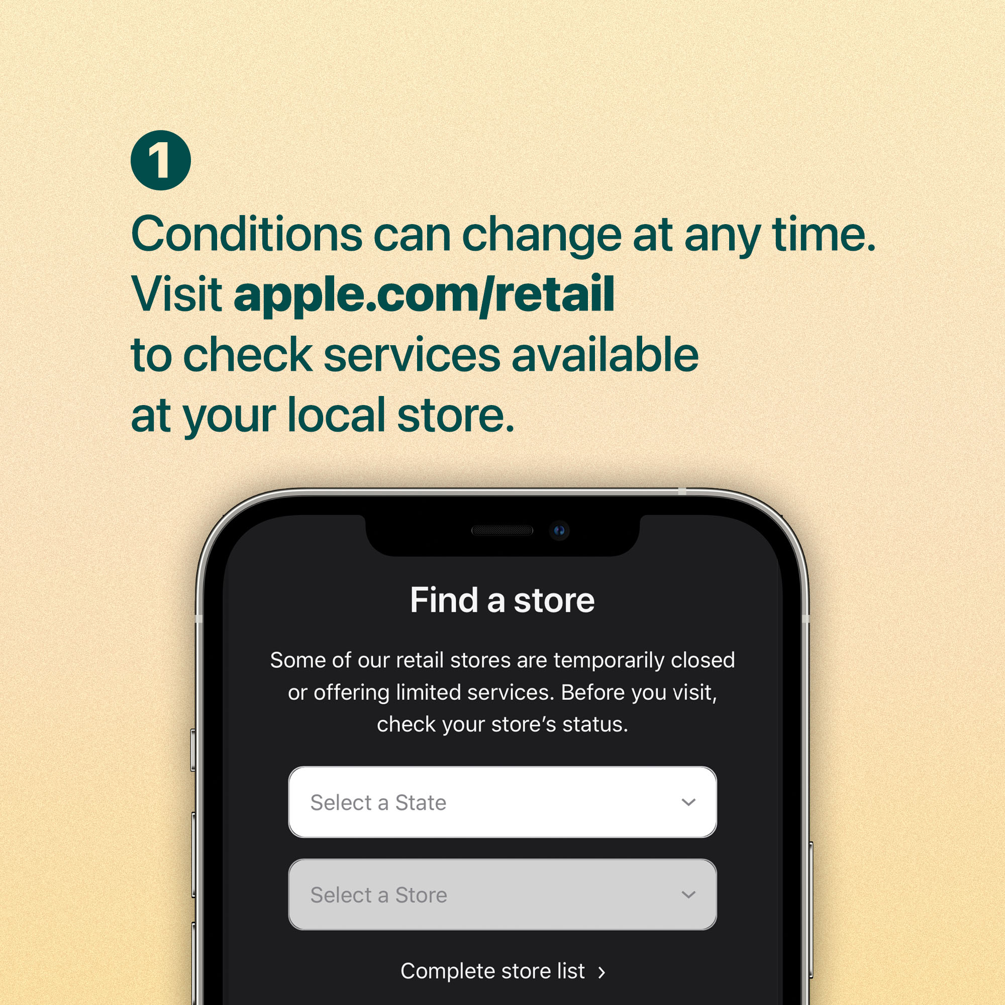 Conditions can change at any time. Visit apple.com/retail to check services available at your local store.