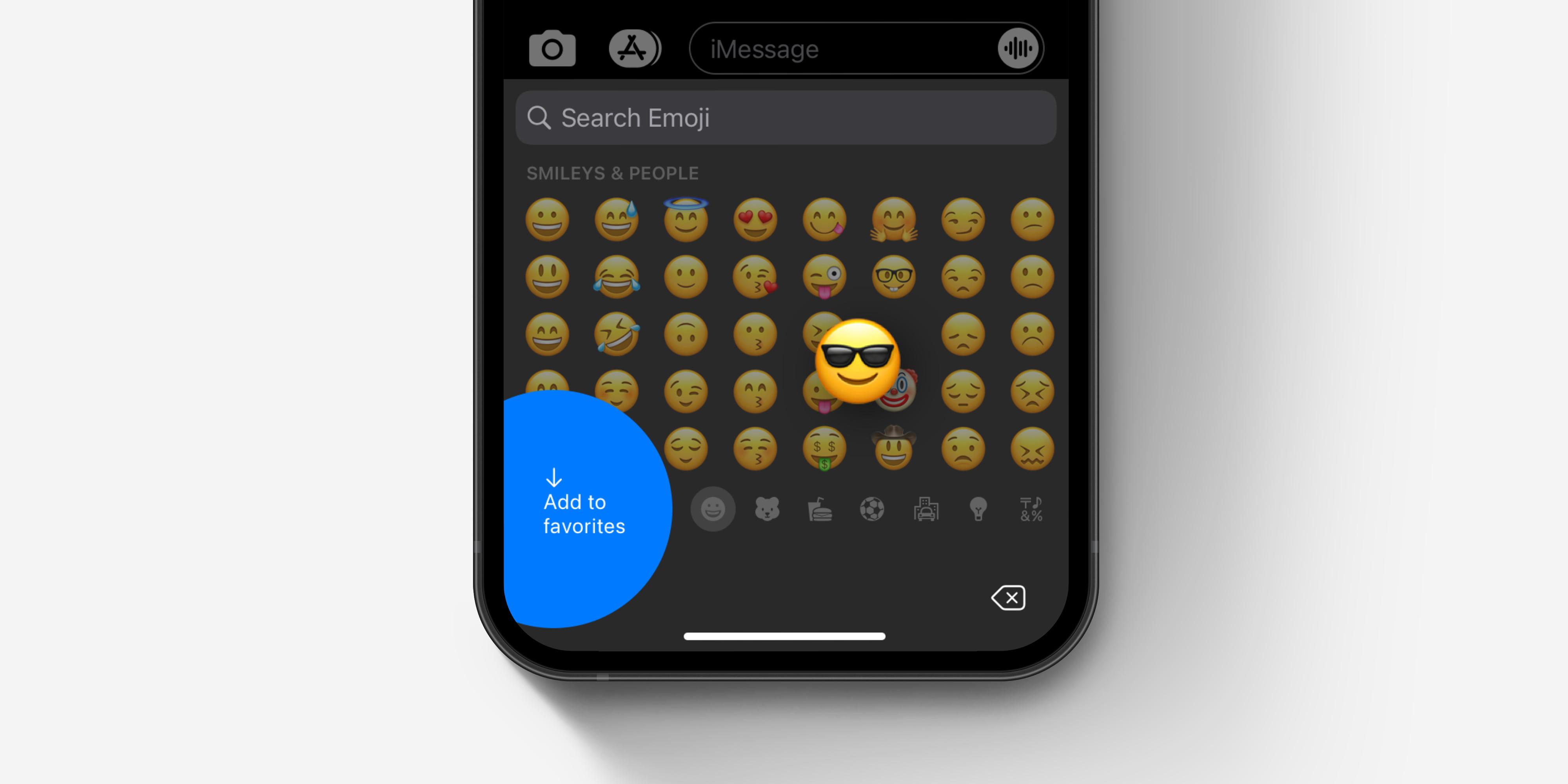 """teclado emoji de iOS cómo """"agregar a los favoritos"""" concepto"""