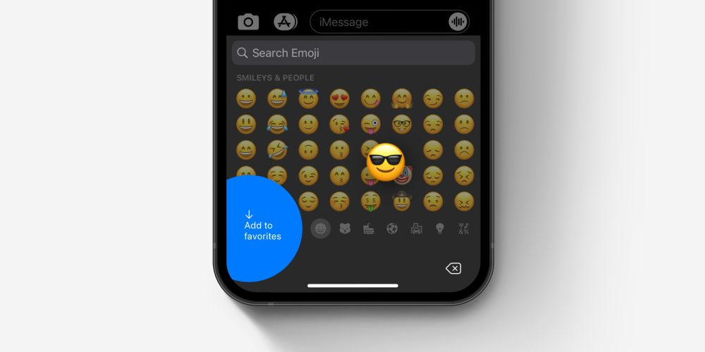 """iOS emoji keyboard how to """"add to favorites"""" concept"""