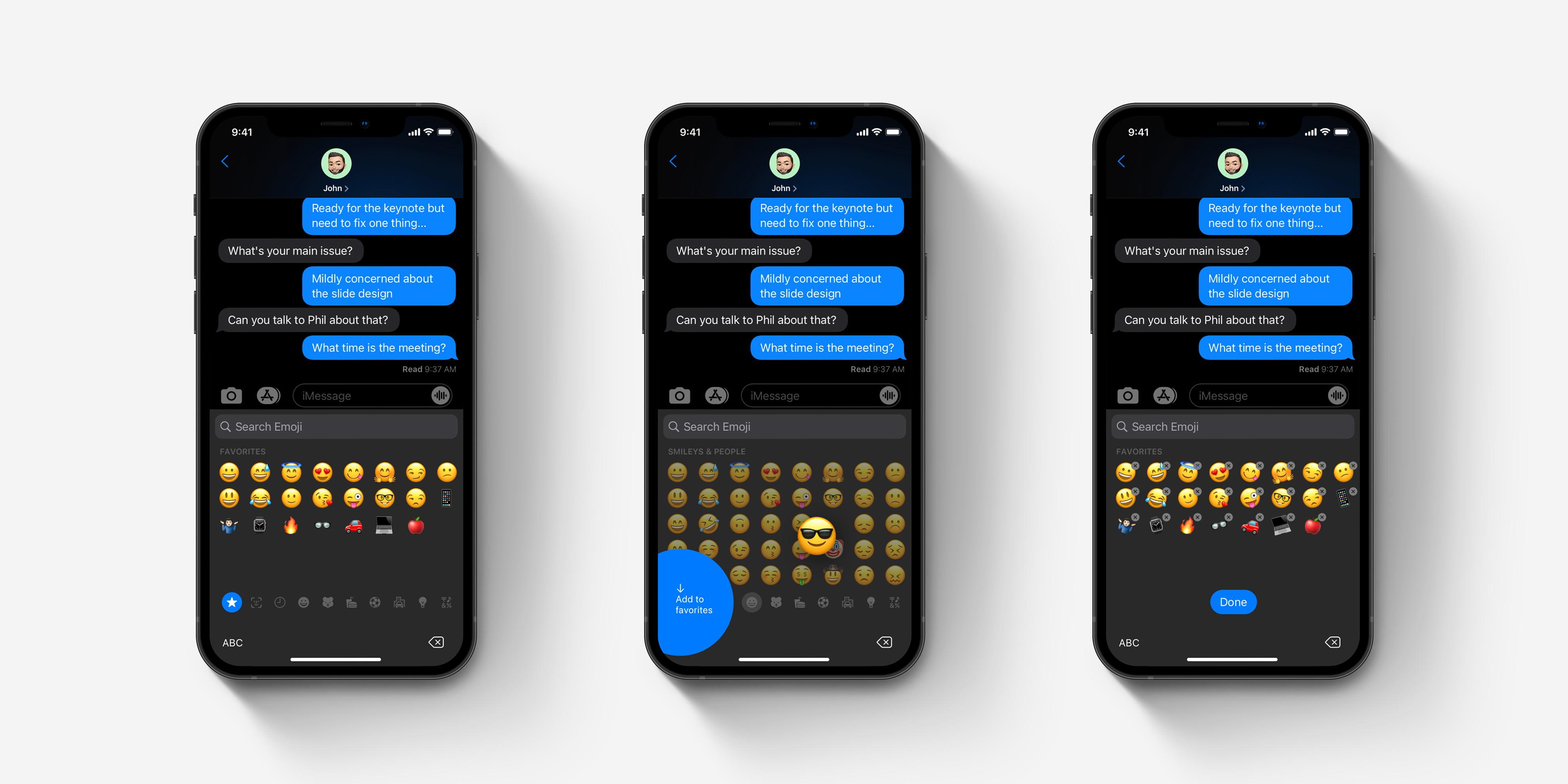descripción general del concepto de favoritos del teclado emoji de iOS