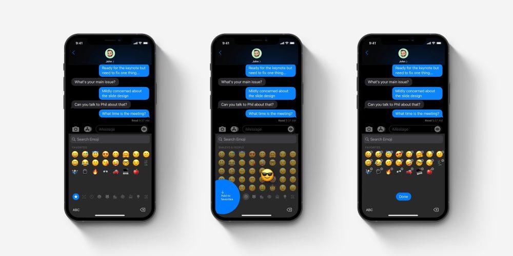 iOS emoji keyboard favorites concept overview