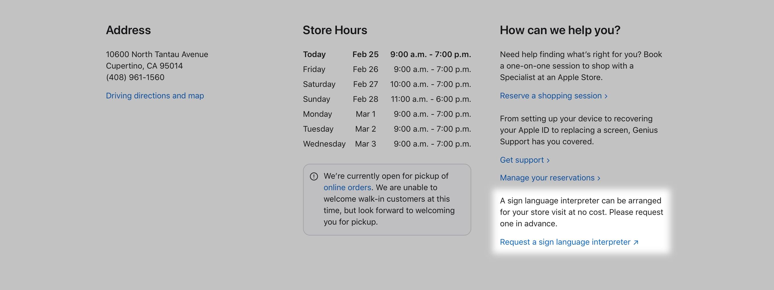 """Visita il sito Web di Apple per il tuo negozio locale e scegli """"Richiesta di interprete della lingua dei segni"""" Link."""