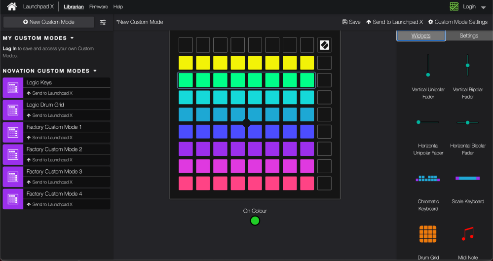 Custom Launchpad modes components editor