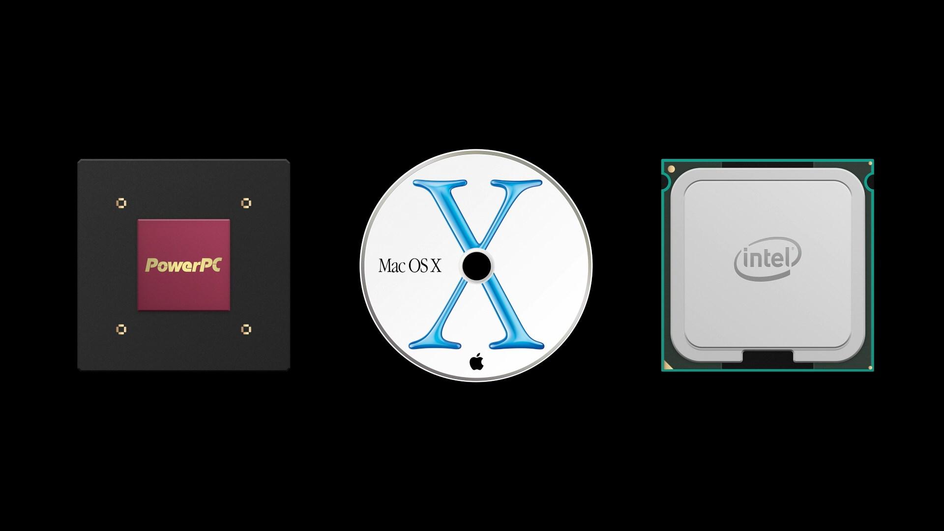 Power PC, Mac OS X, and Intel processor.