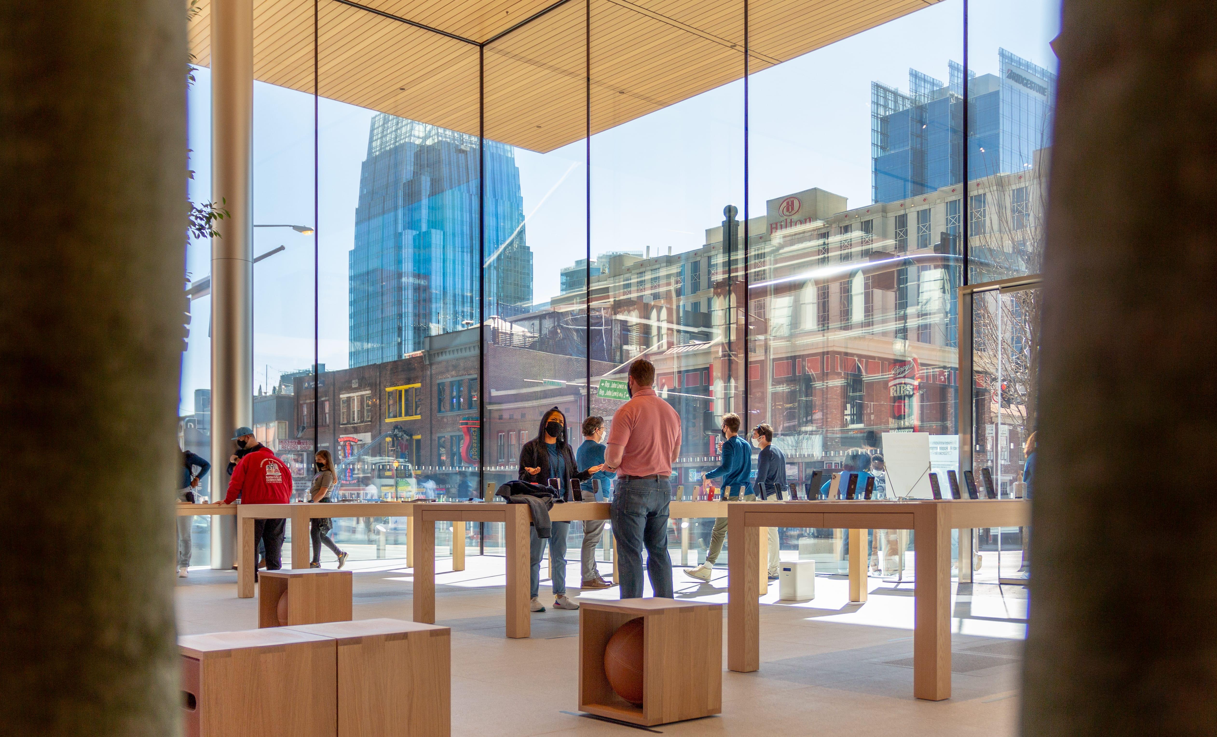 Apple Downtown Nashville overlooks the city