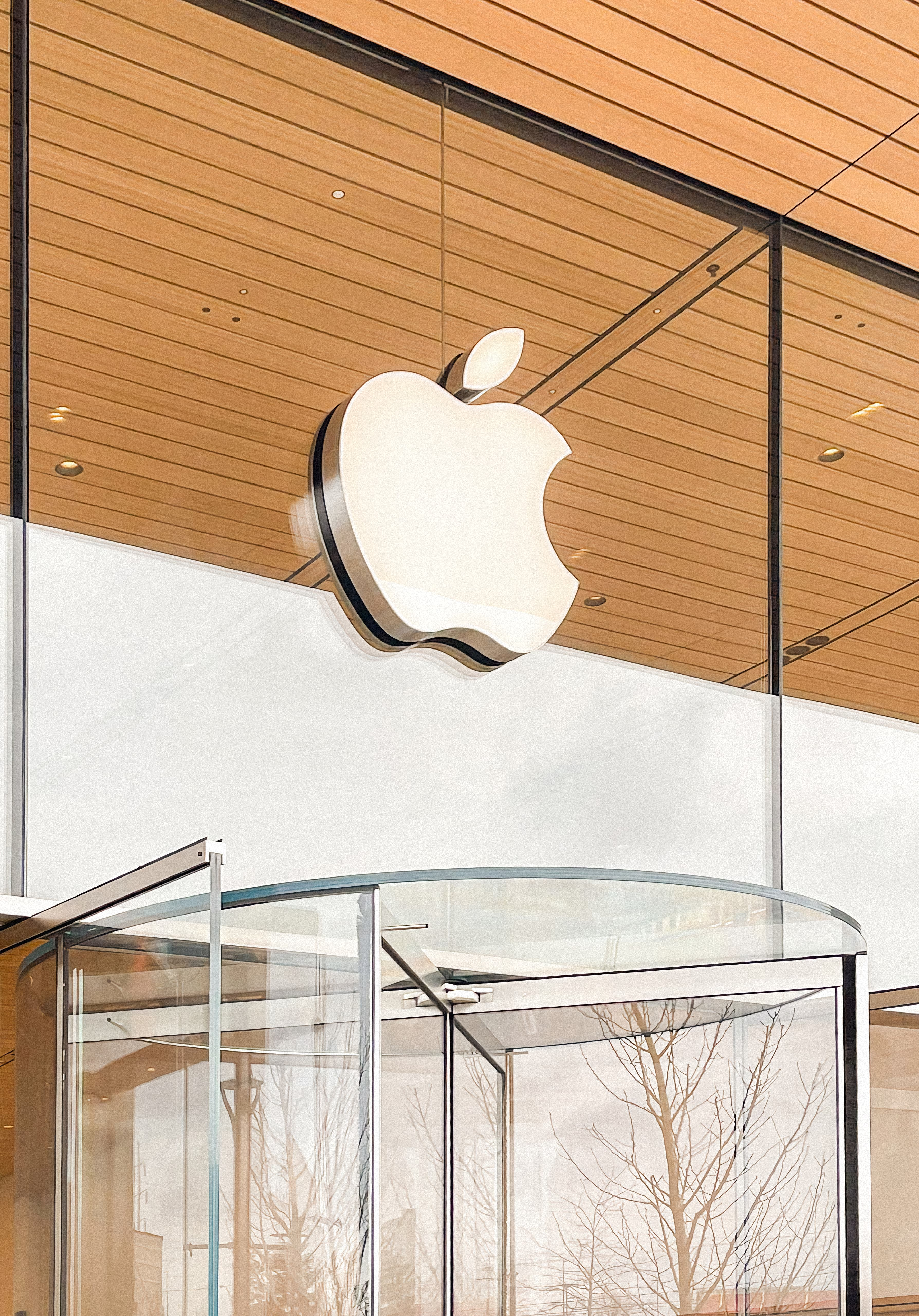 The Apple logo on the front of Apple Fritz Farm.