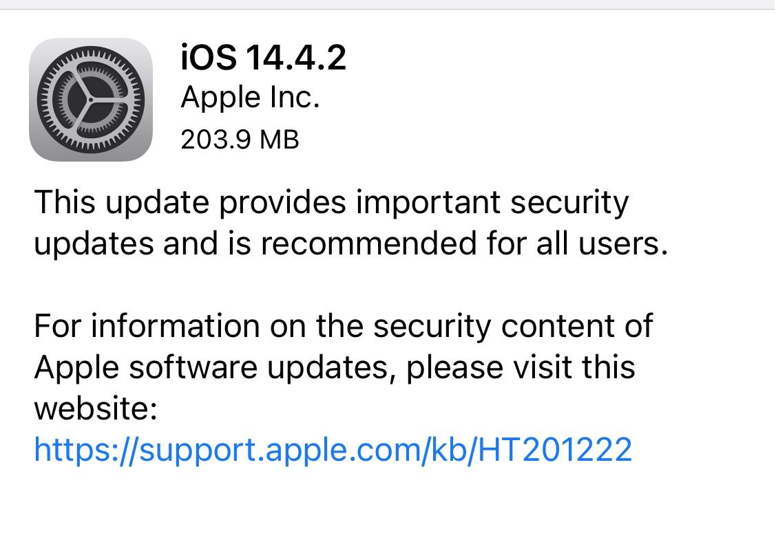 ios 14 4 2 software update