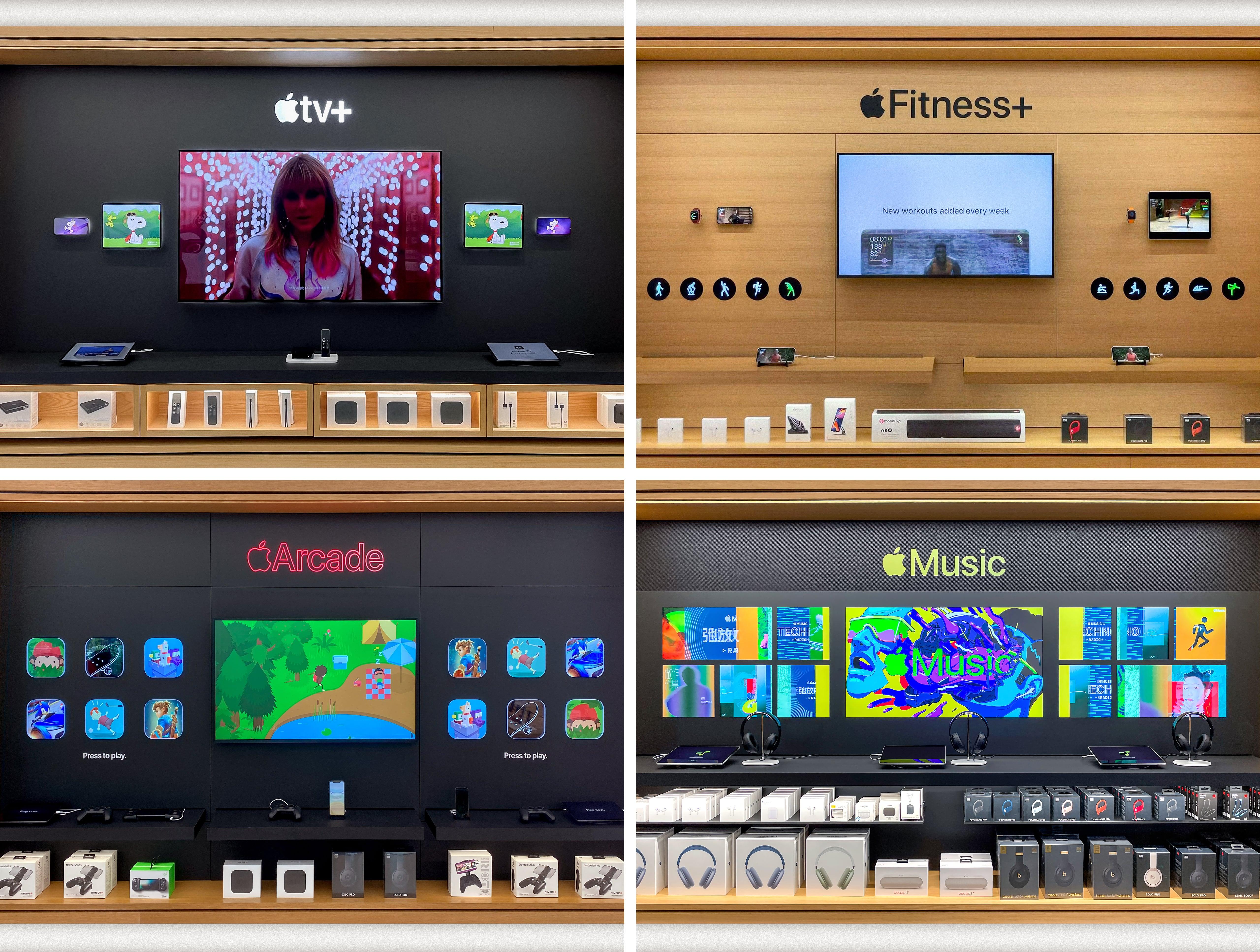 Apple TV+, Apple Fitness+, Apple Arcade, and Apple Music displays.