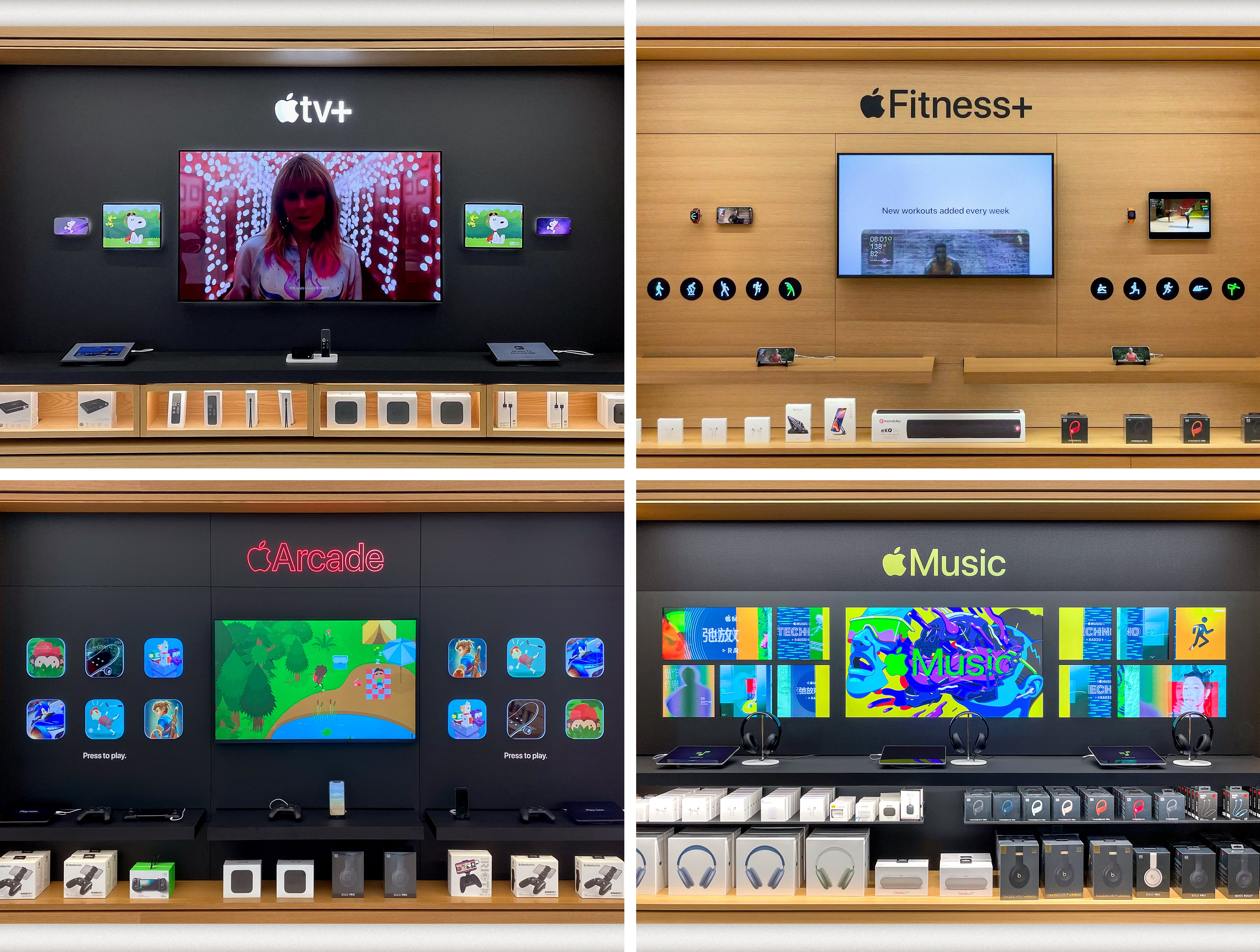 Apple TV+, Apple Fitness+, Apple Arcade, and Apple Music displays.