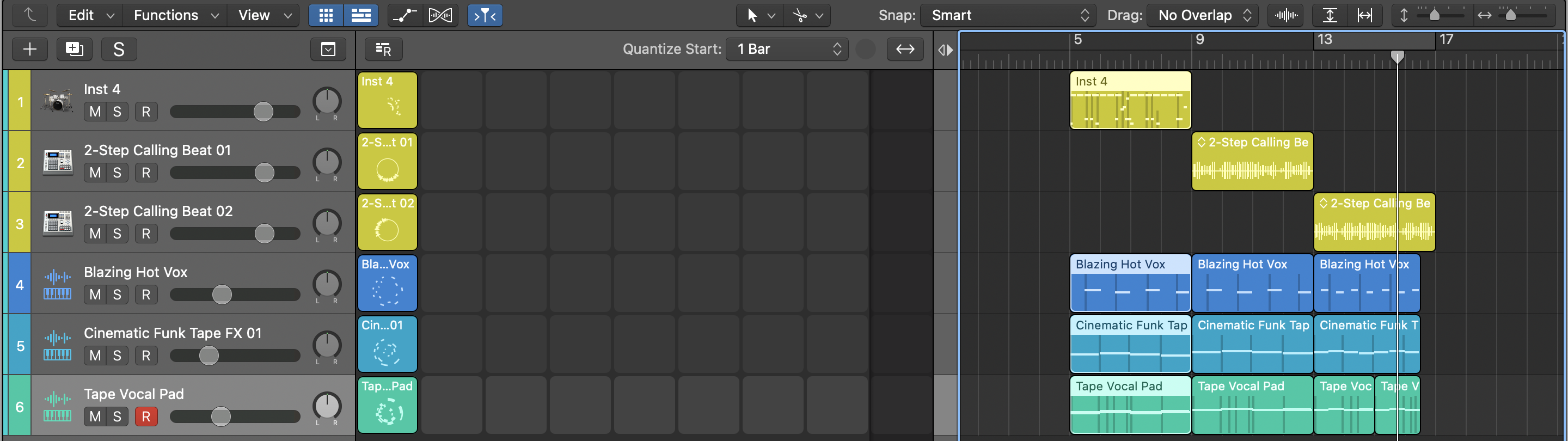 drag and drop cells and regions Logic Pro Copy to