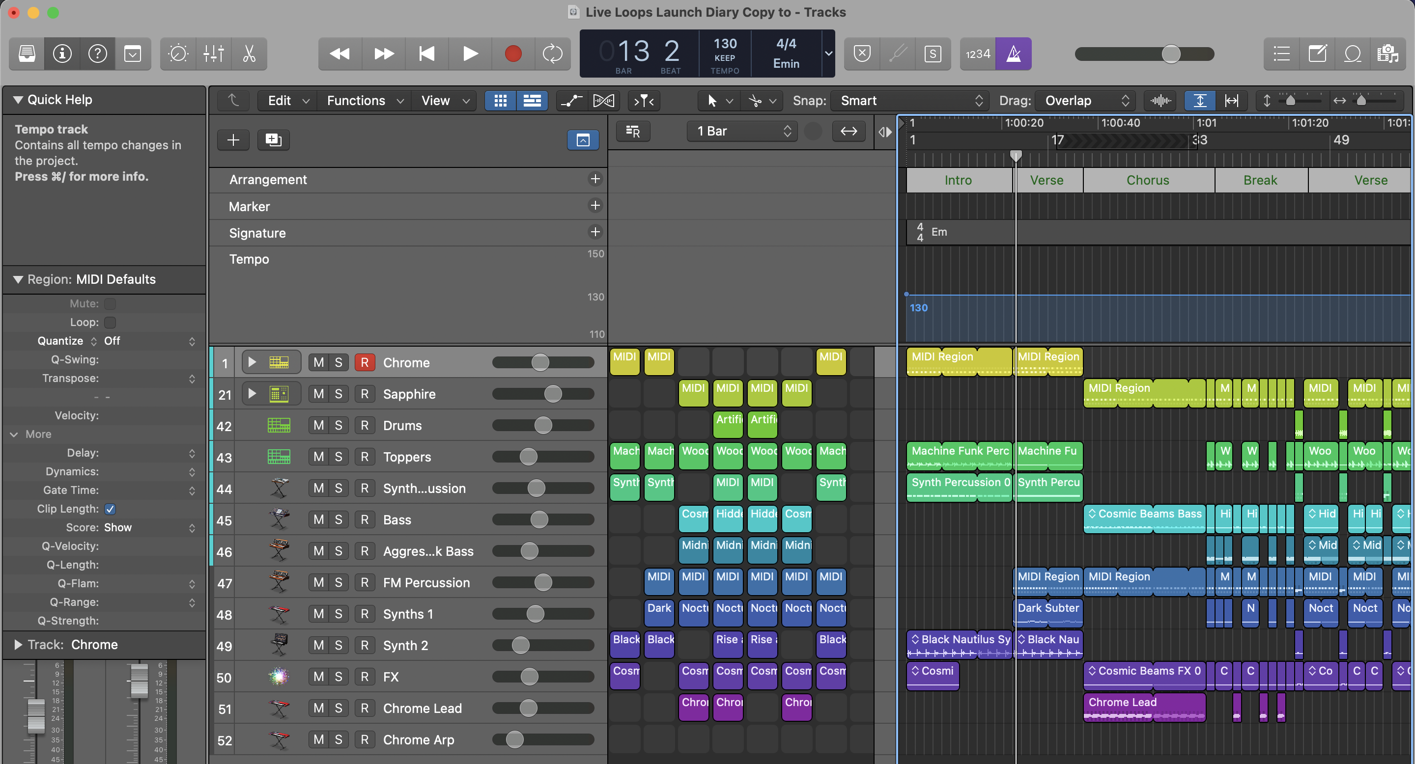 Copy whole song to Live Loops Logic Pro