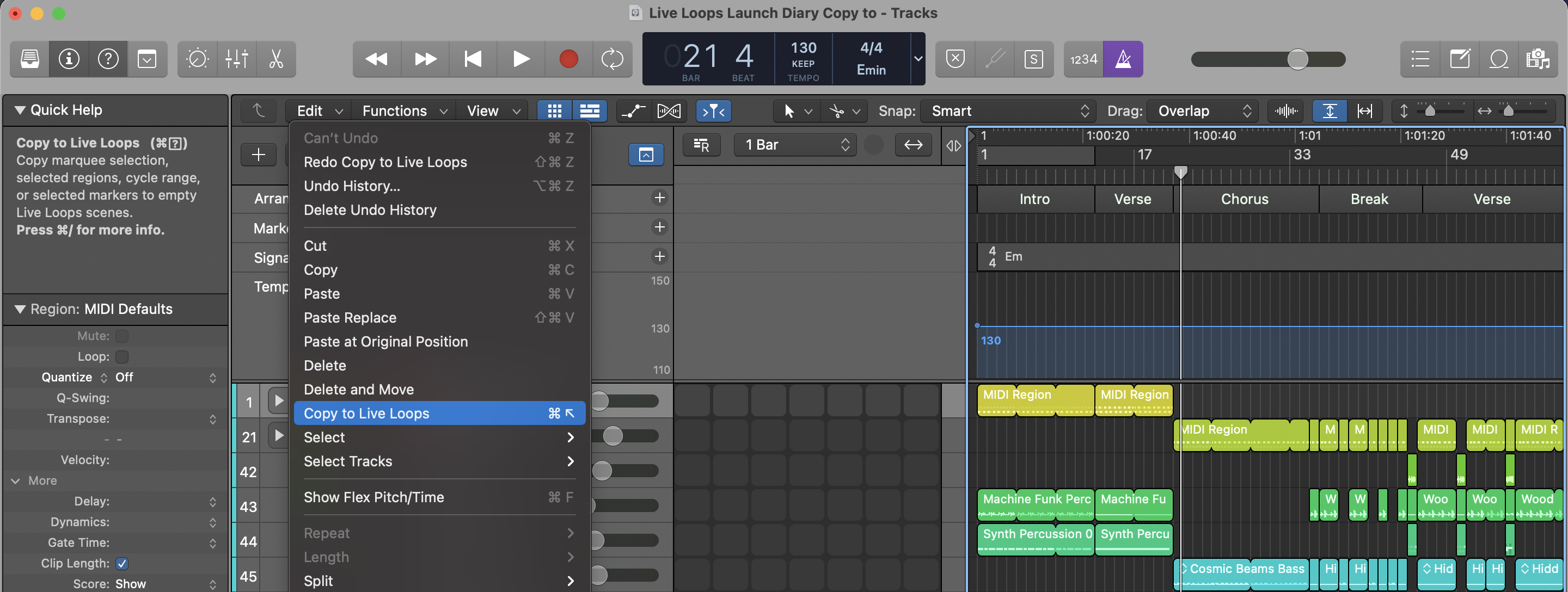 Copy to Live Loops in Logic Pro