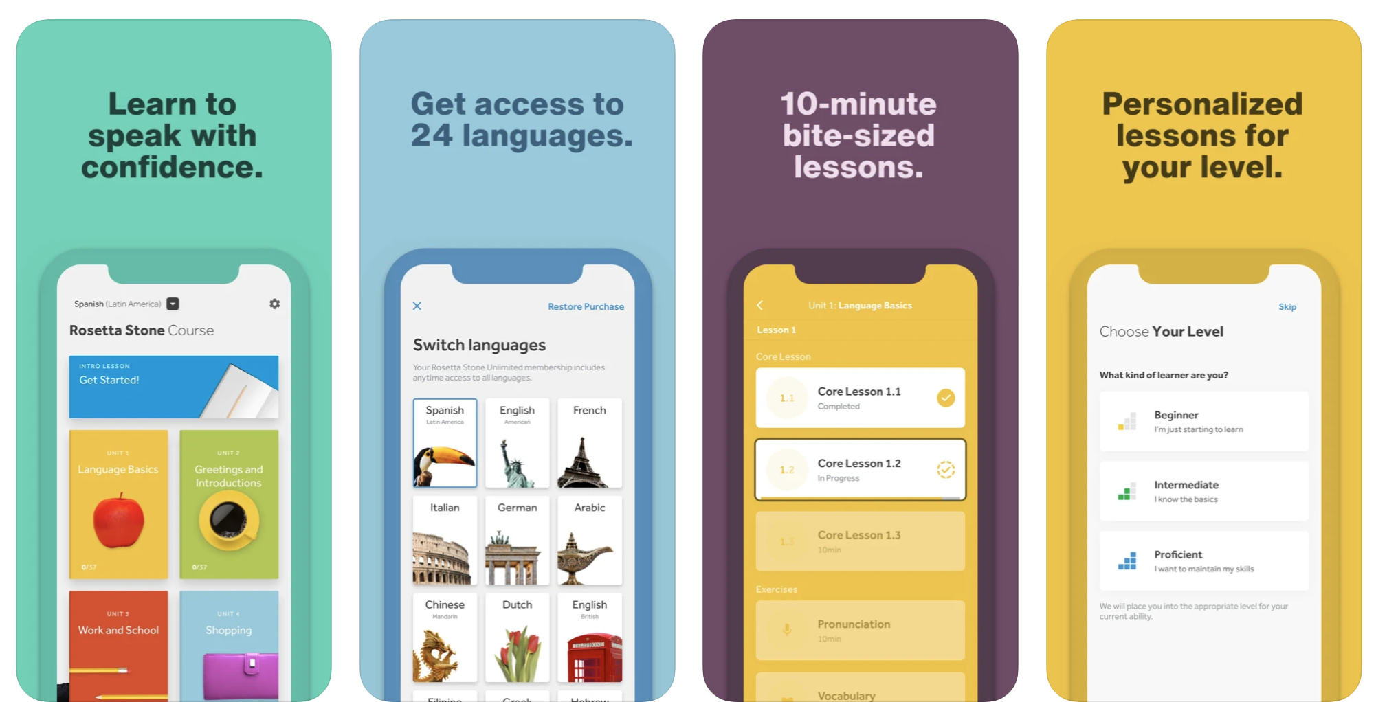 Meilleures applications d'apprentissage des langues iPhone - Rosetta Stone