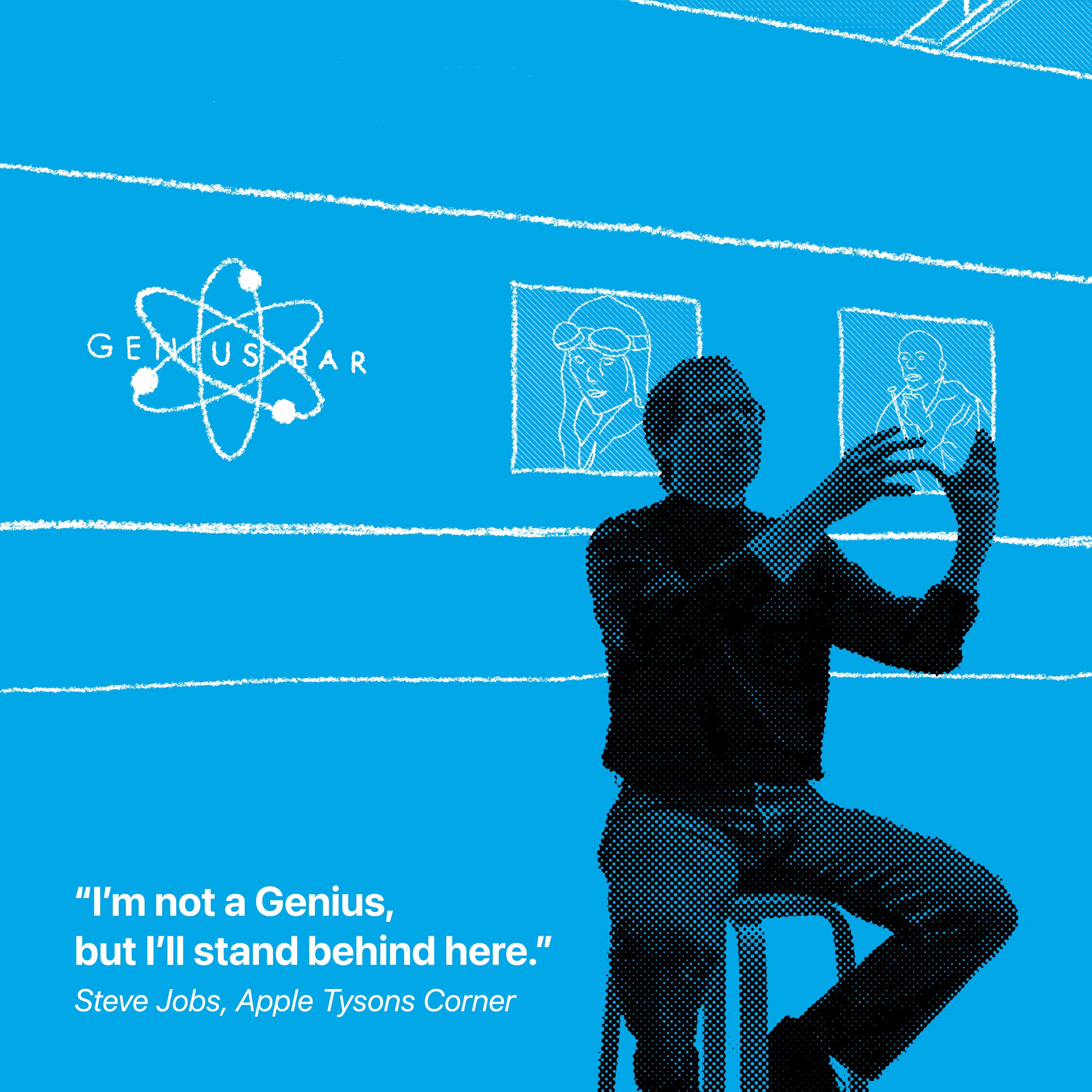 """""""I'm not a Genius, but I'll stand behind here."""" Steve Jobs, Apple Tysons Corner"""