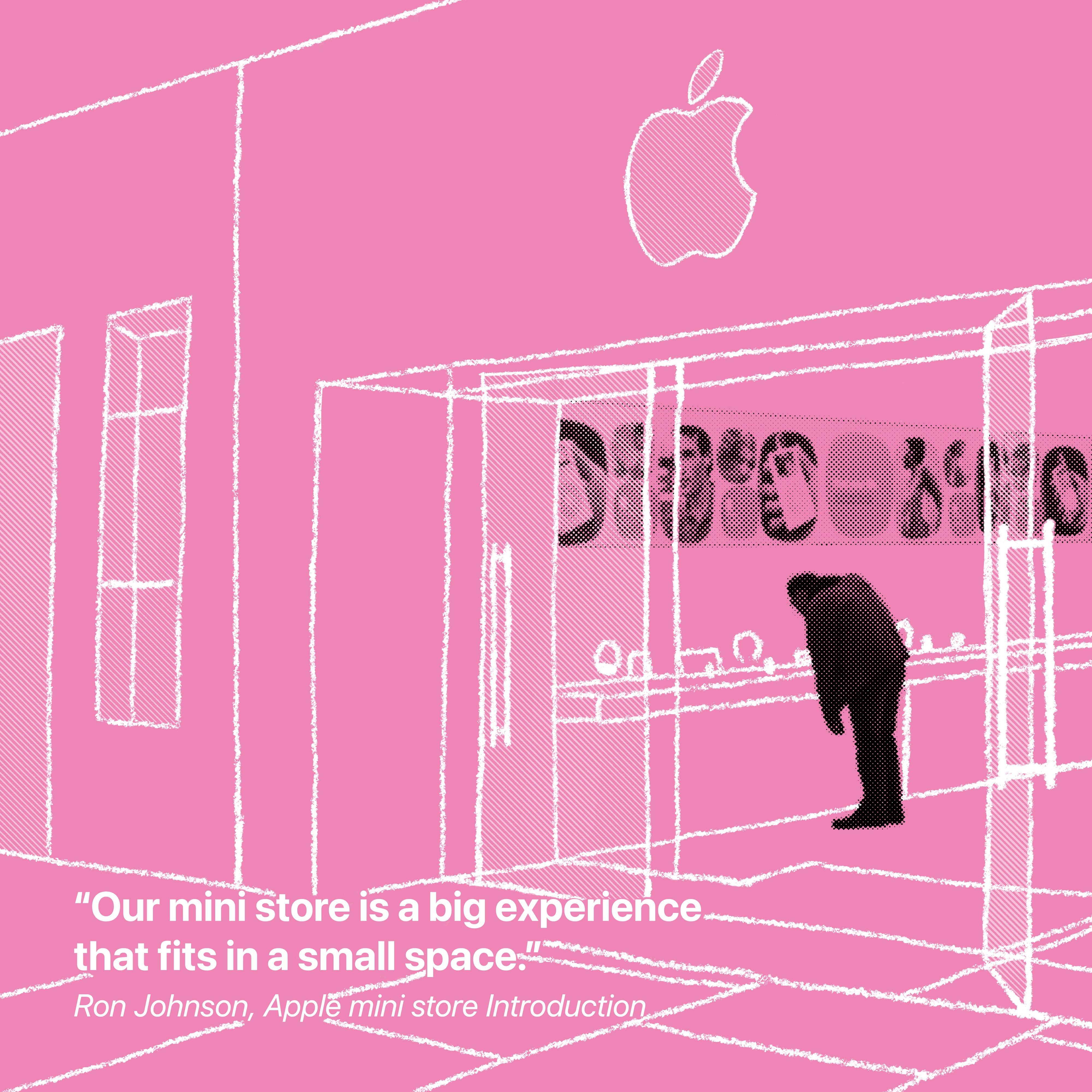 """""""Notre mini-boutique est une grande expérience qui s'intègre dans un petit espace."""" Ron Johnson, Apple mini store Introduction"""