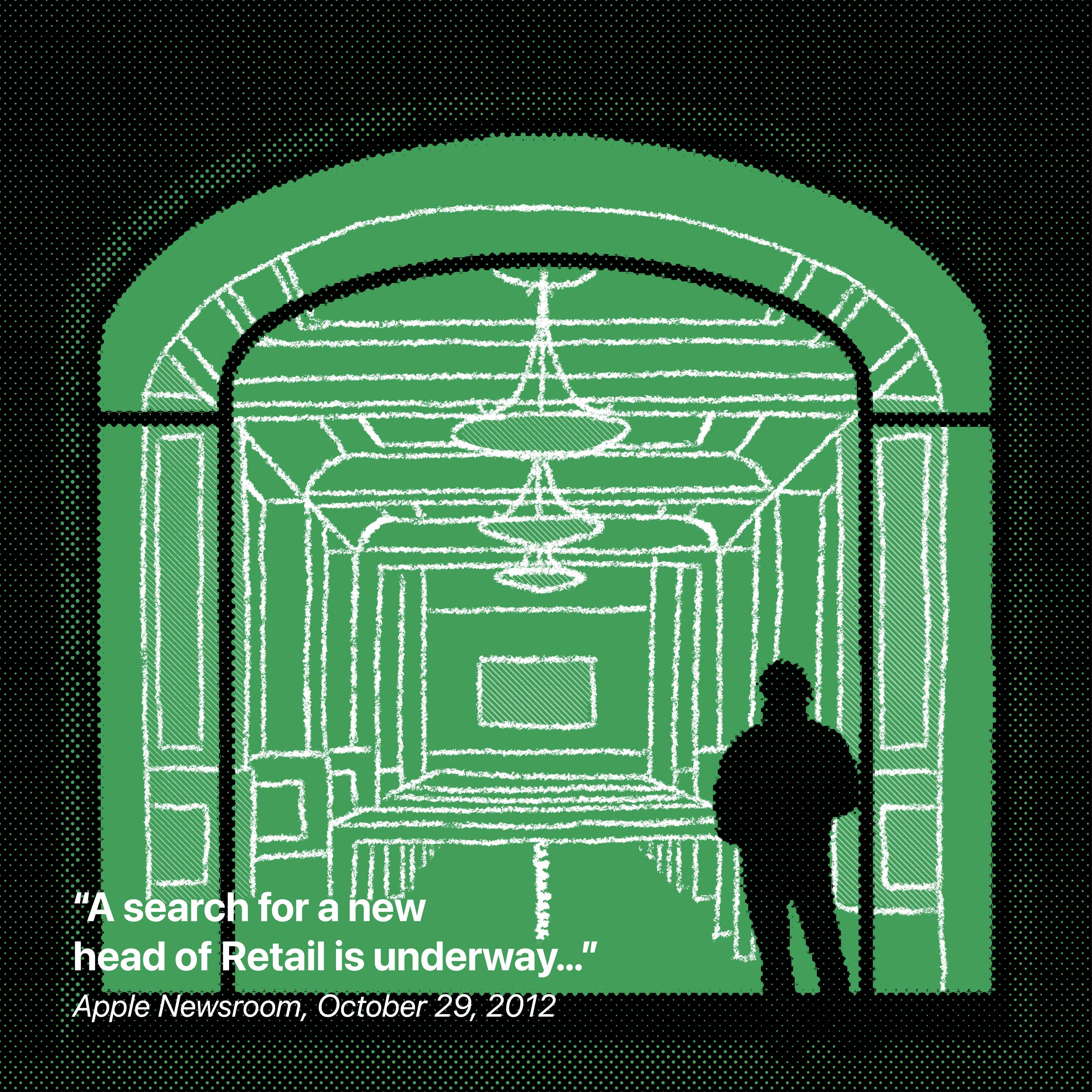 """""""Une recherche d'un nouveau responsable Retail est en cours ..."""" Apple Newsroom, 29 octobre 2012"""