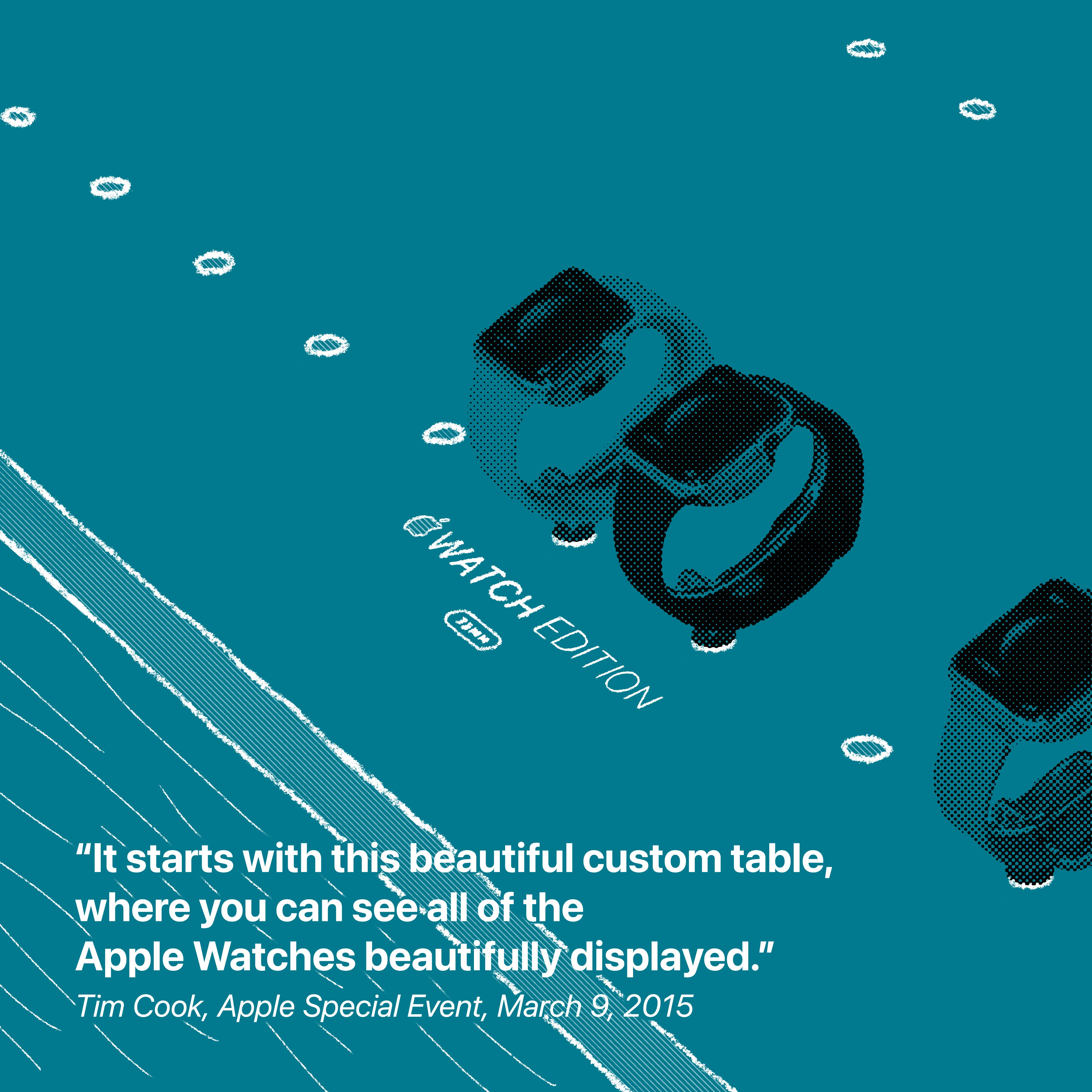 """""""It starts with this beautiful custom table, where you can see all of the Apple Watches beautifully displayed."""" Tim Cook, Apple Special Event, March 9, 2015"""